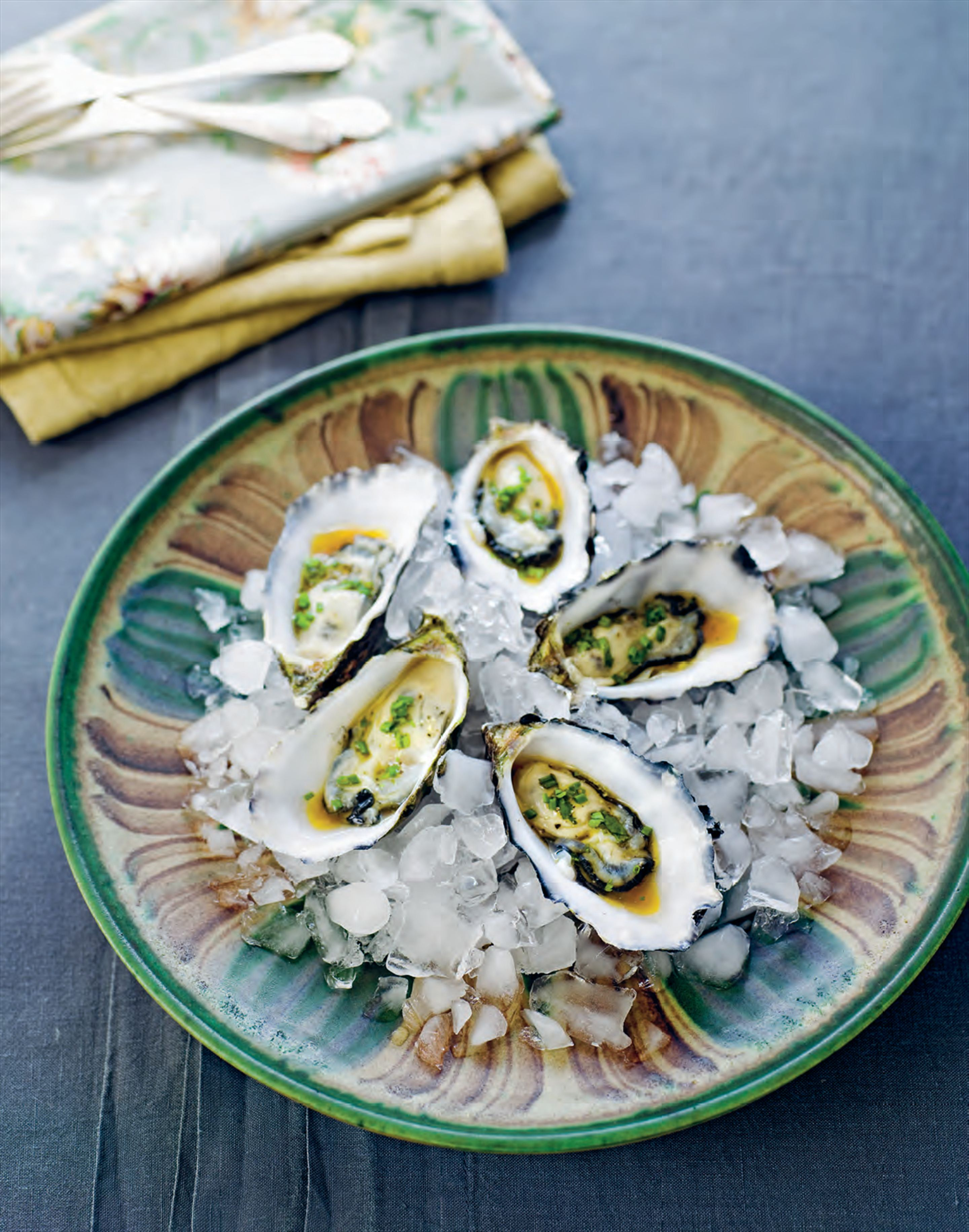 Oysters with coriander dressing