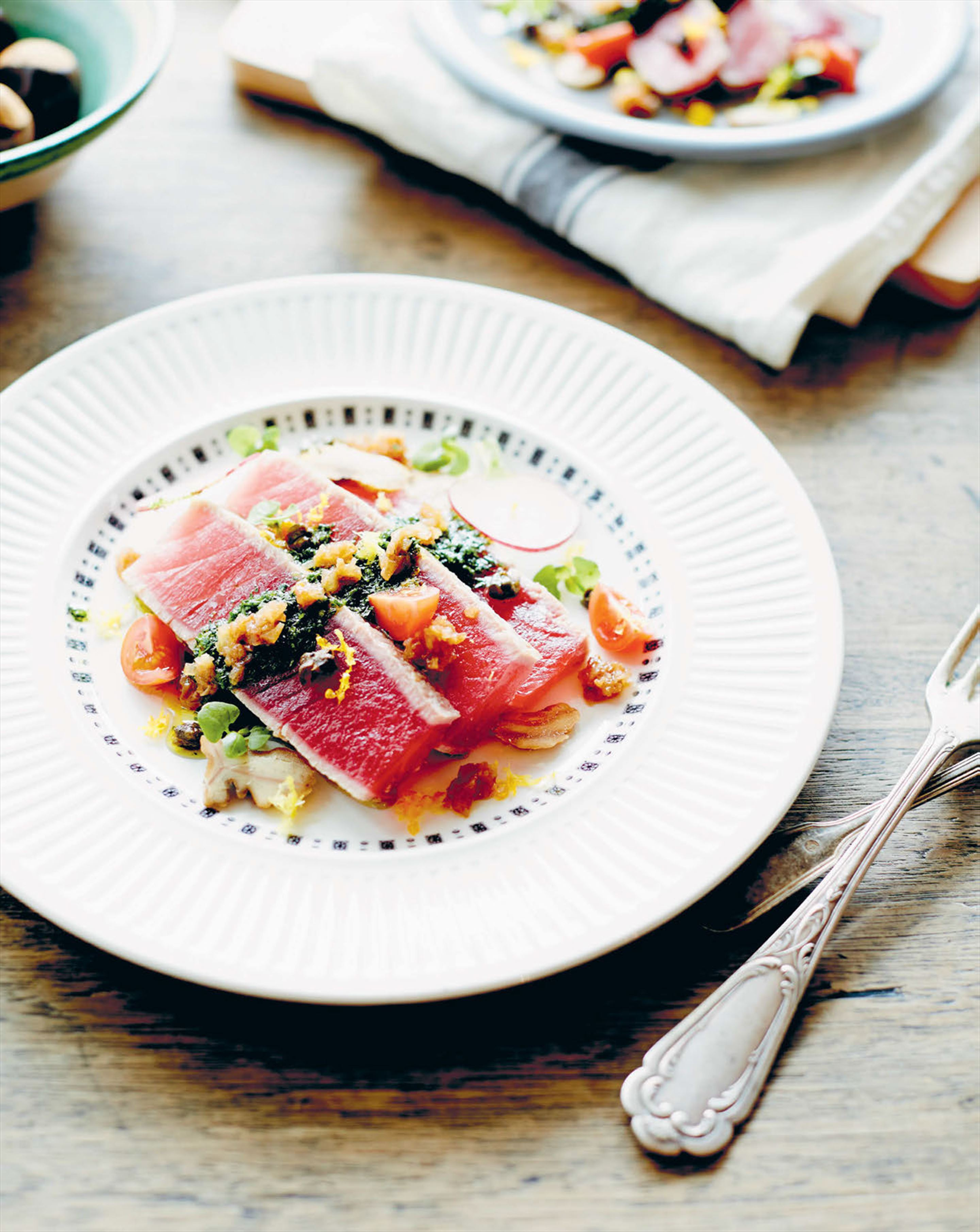 Seared yellowfin tuna with chestnuts and salsa verde