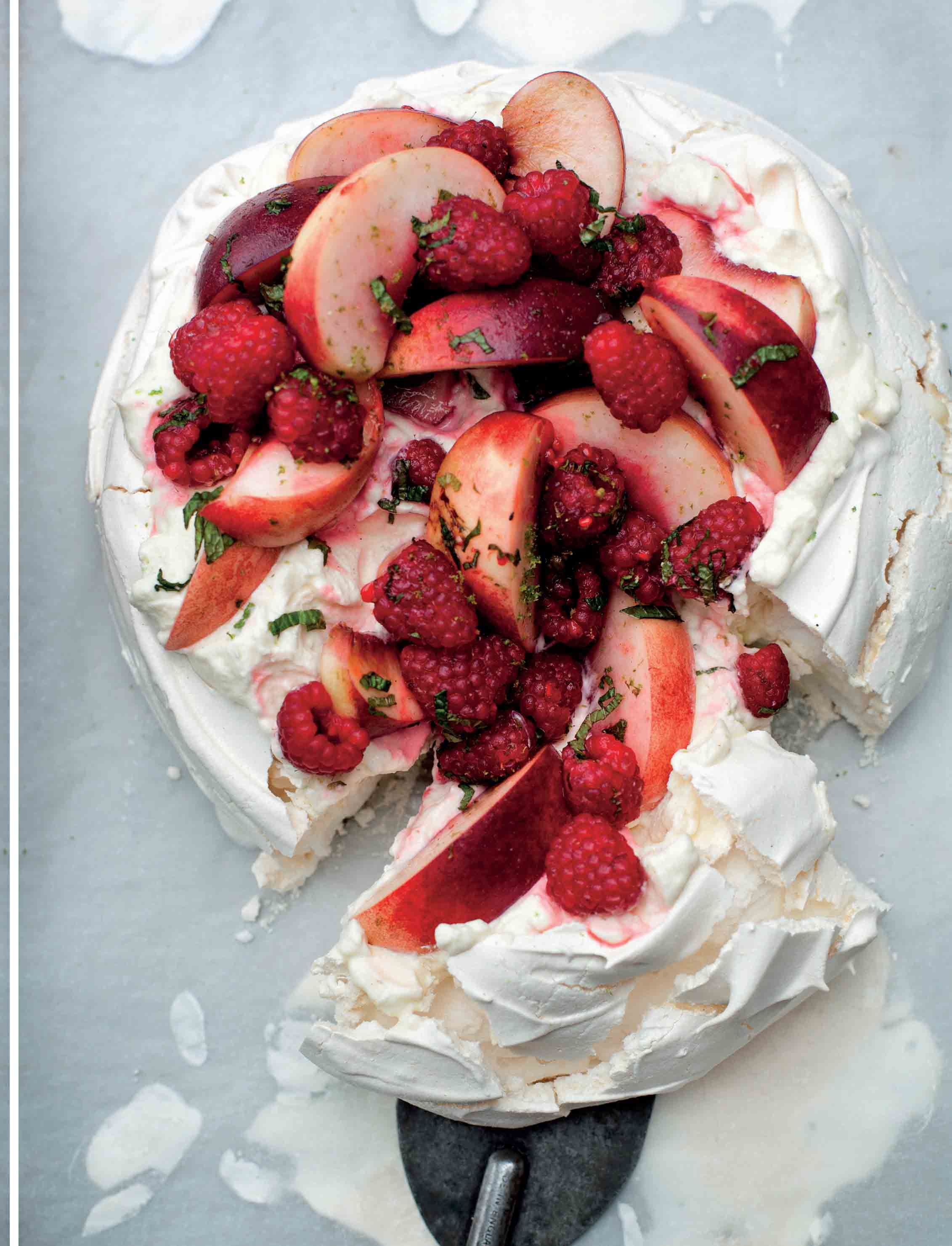 Pavlova with raspberries, peaches and lime mascarpone cream