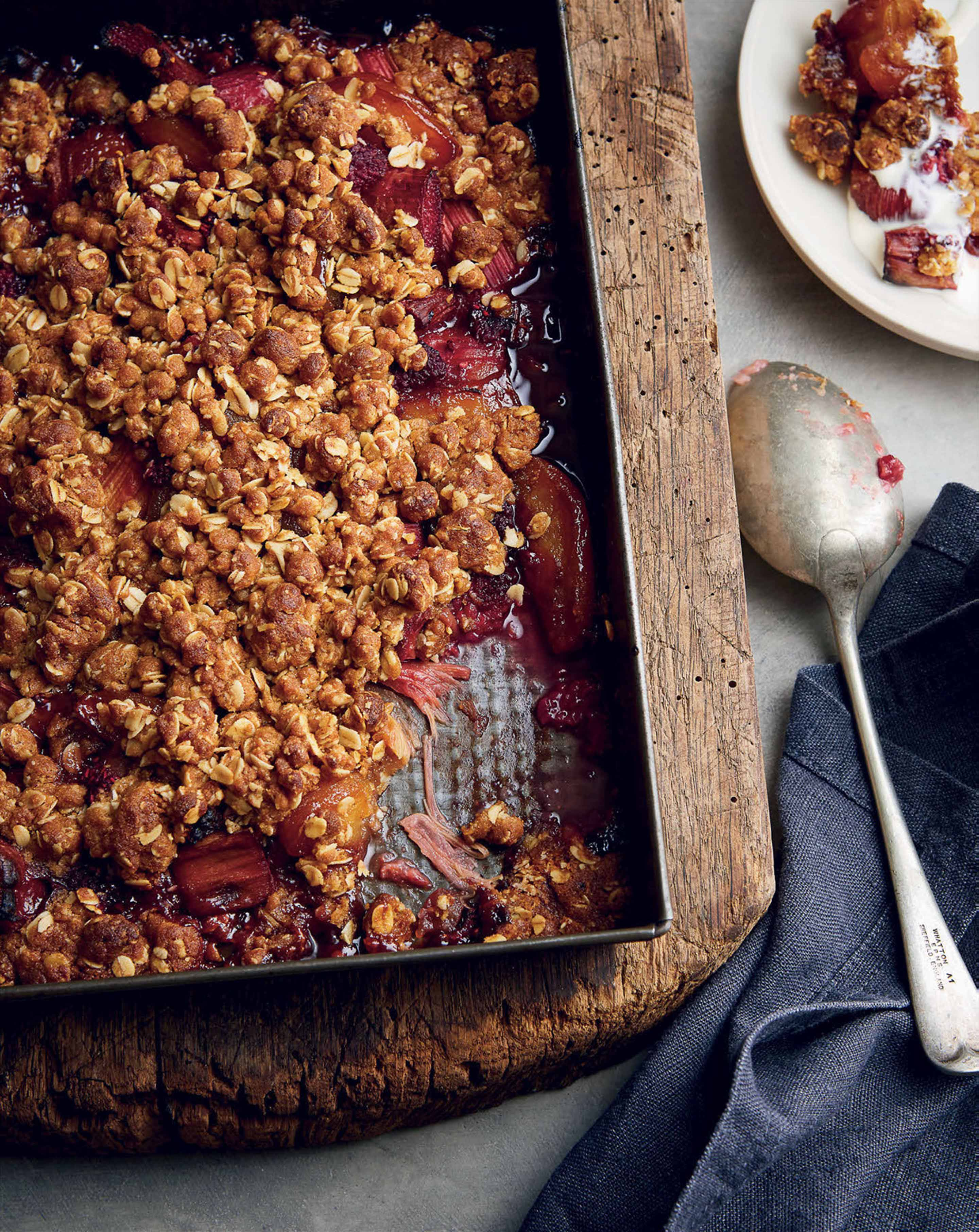 Rhubarb, raspberry and apple crumble with ginger ice cream