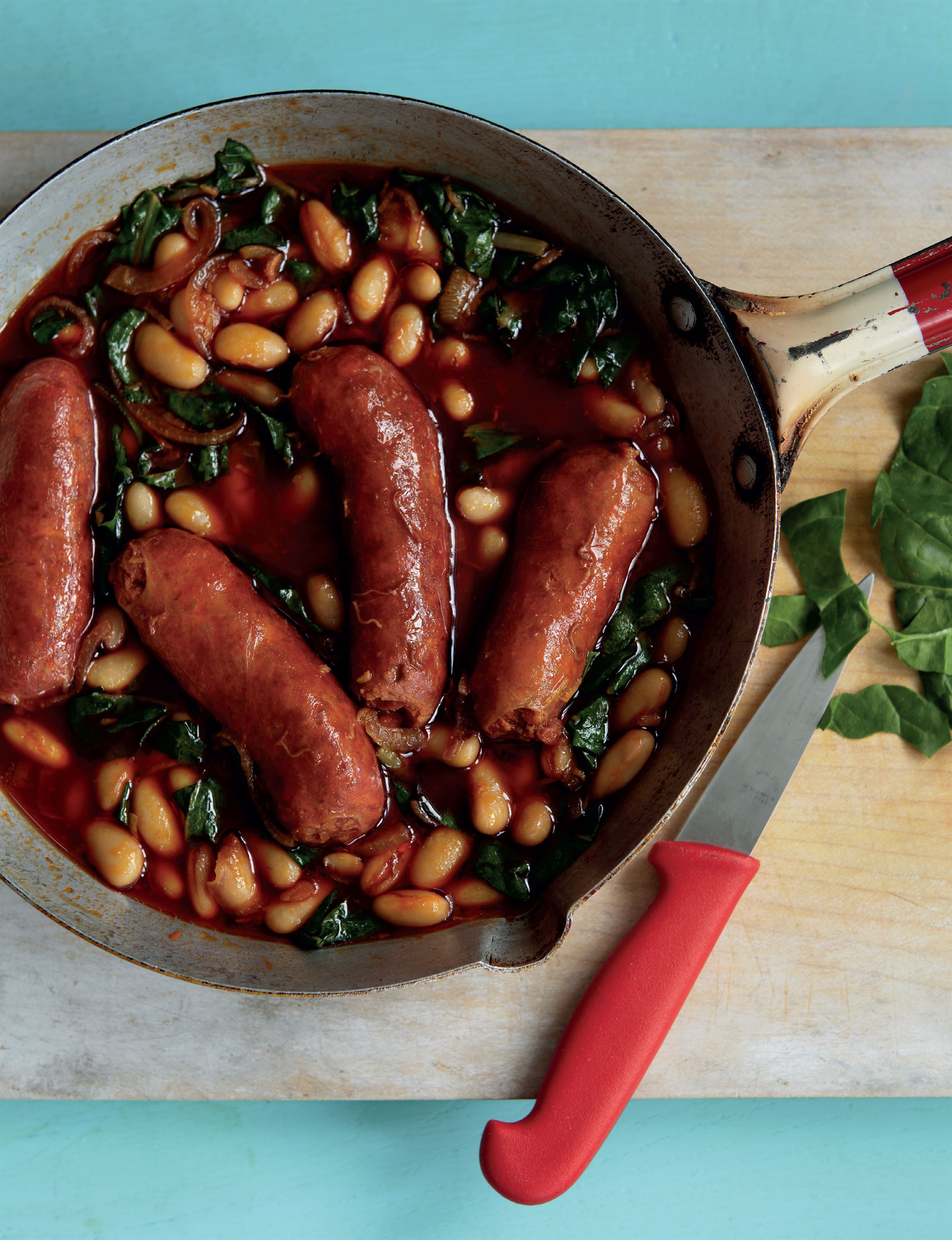 Chorizo with white beans and greens