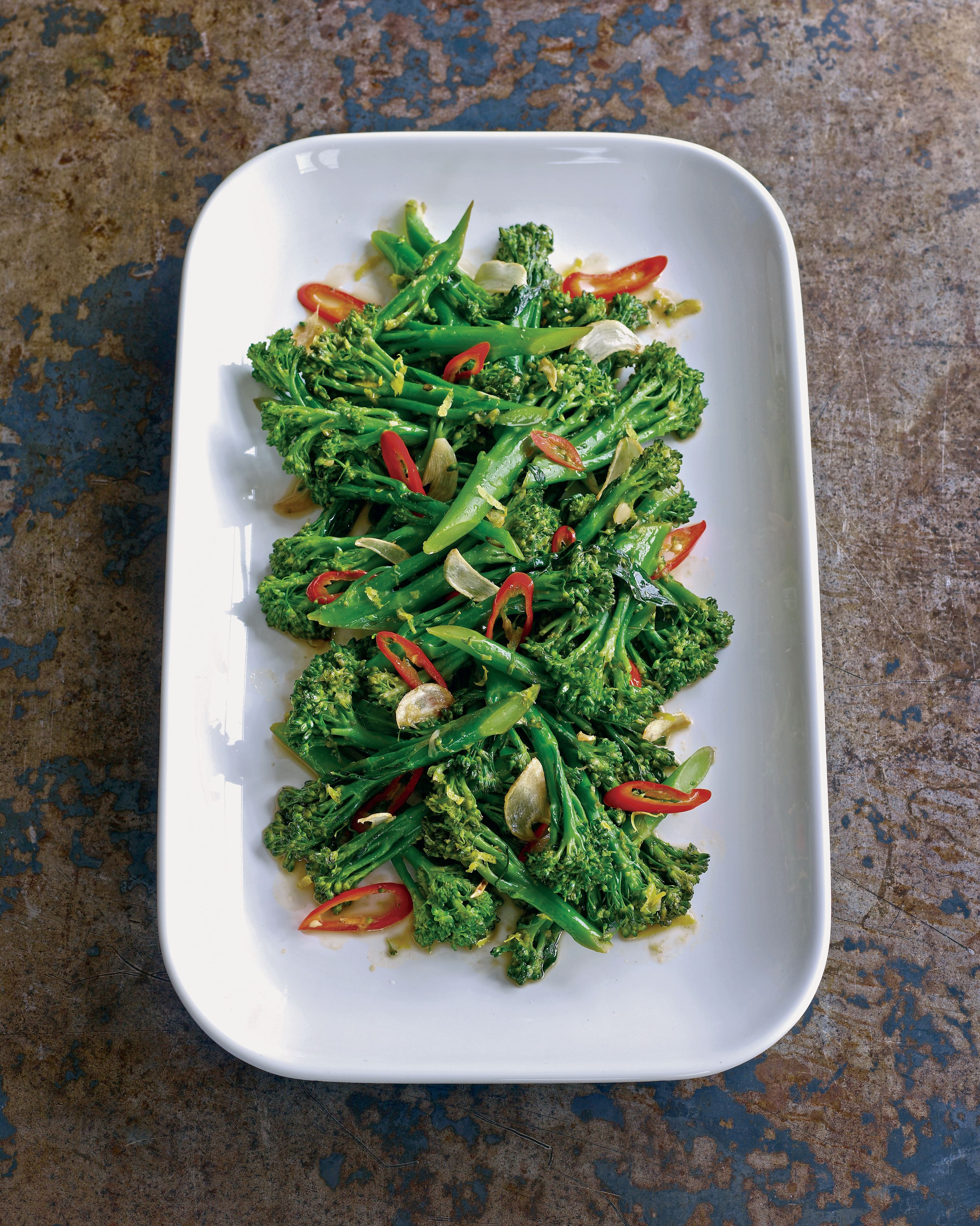 Stir-fry of tenderstem broccoli, chilli, garlic and lemon