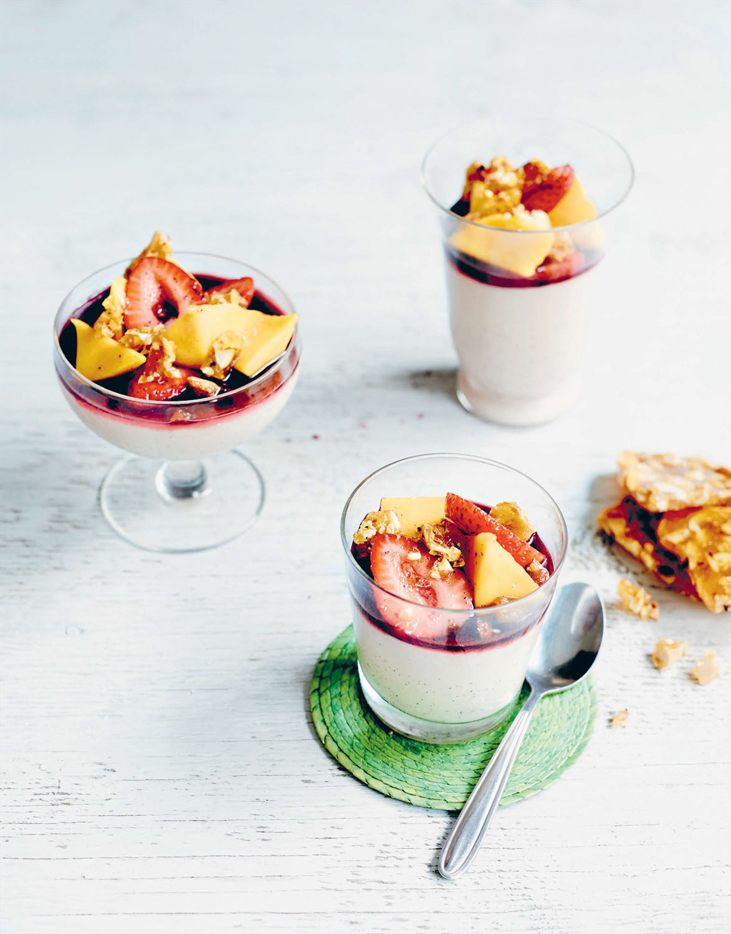 Coconut panna cotta with napa-style strawberry & mango salad