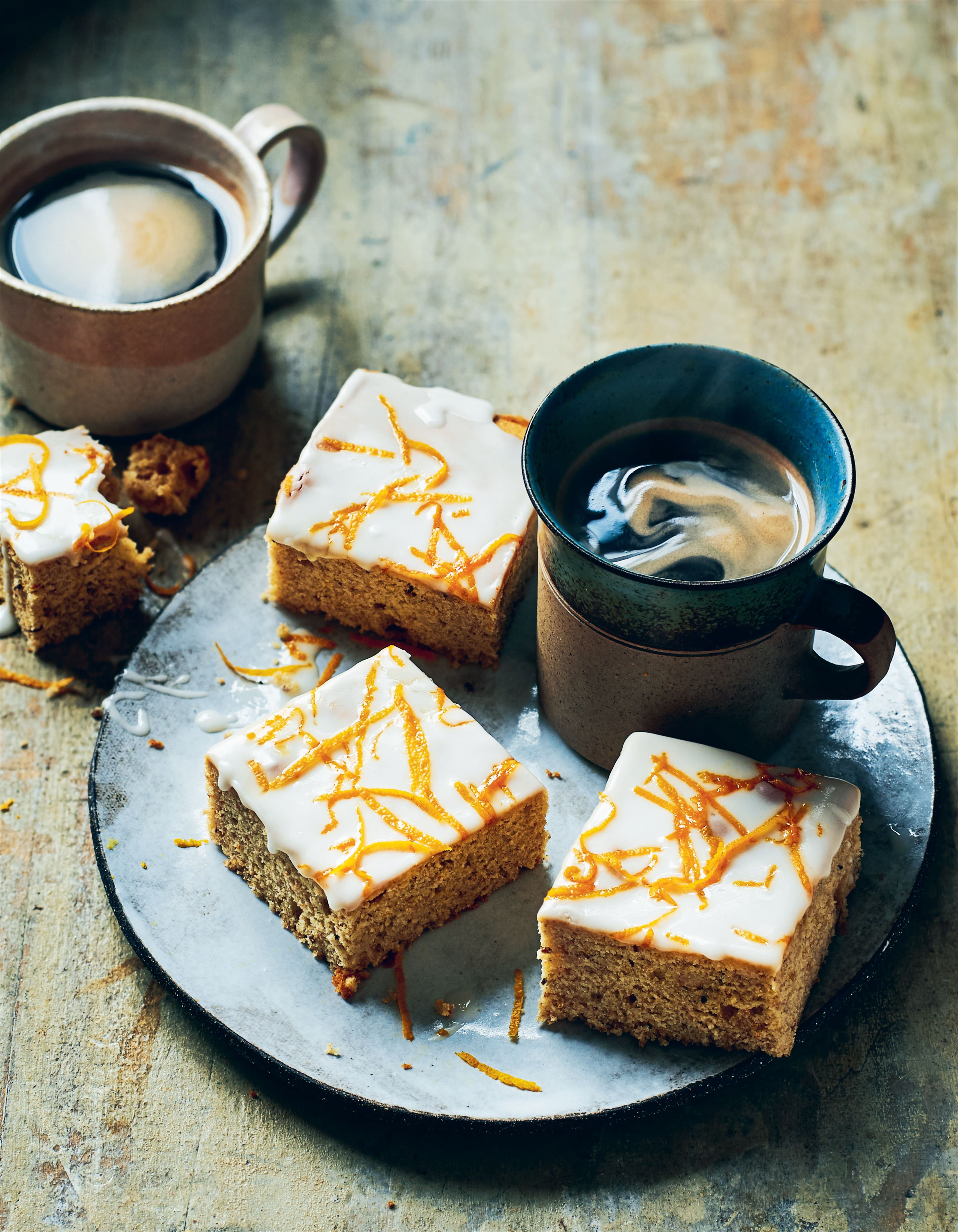 Orange and caraway slices with orange blossom glaze