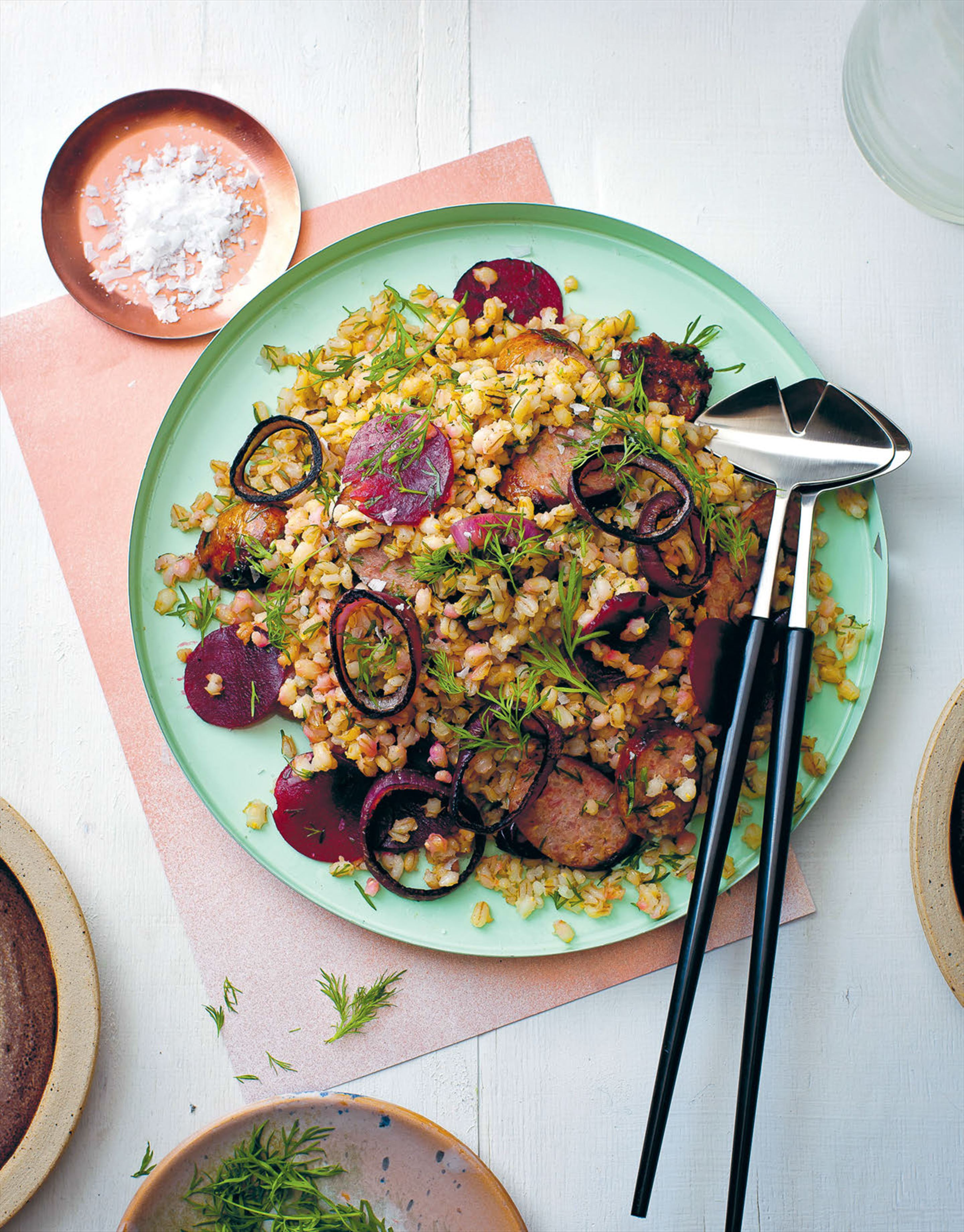 Pork, barley & beetroot salad
