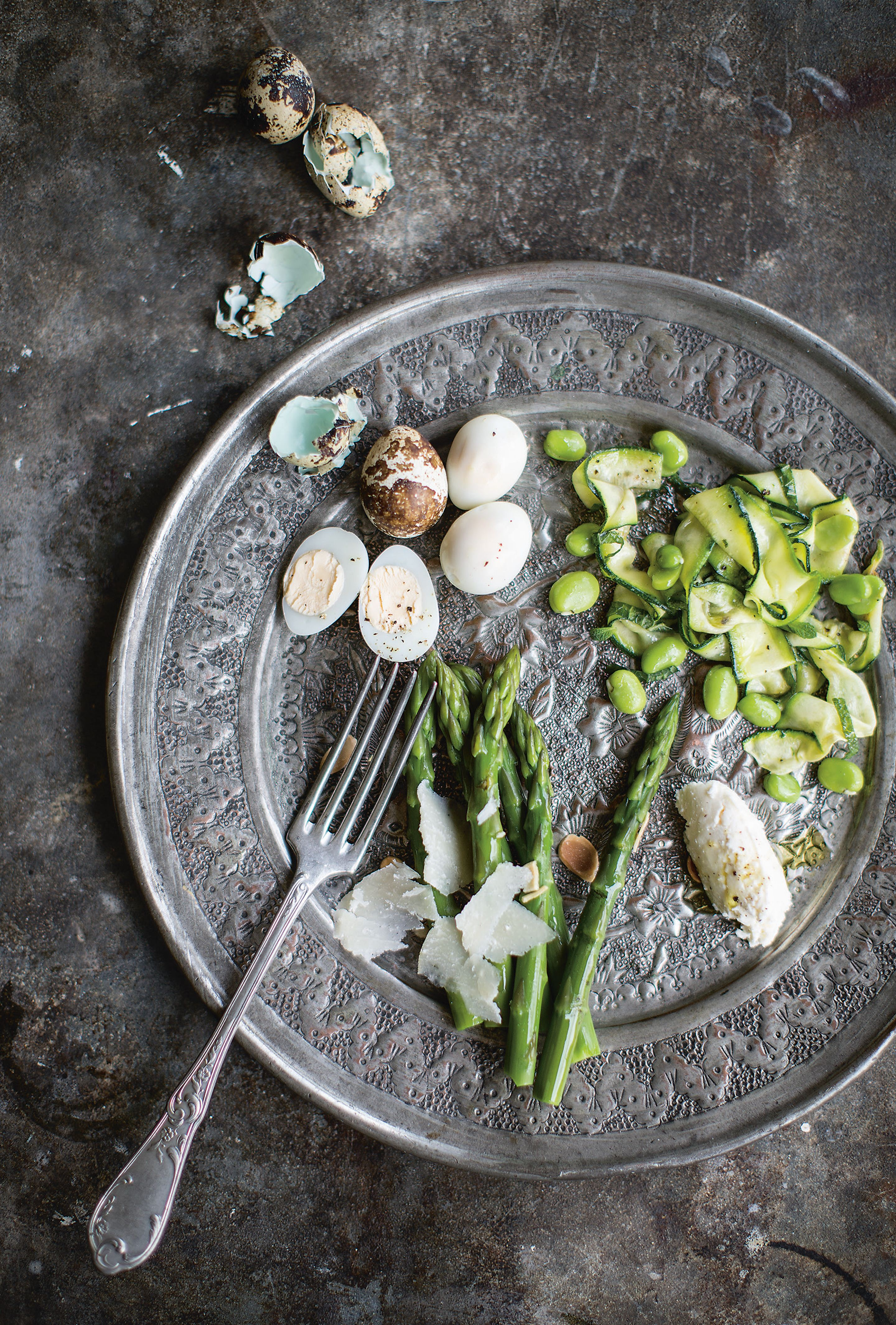 Broad bean, asparagus and courgette salad