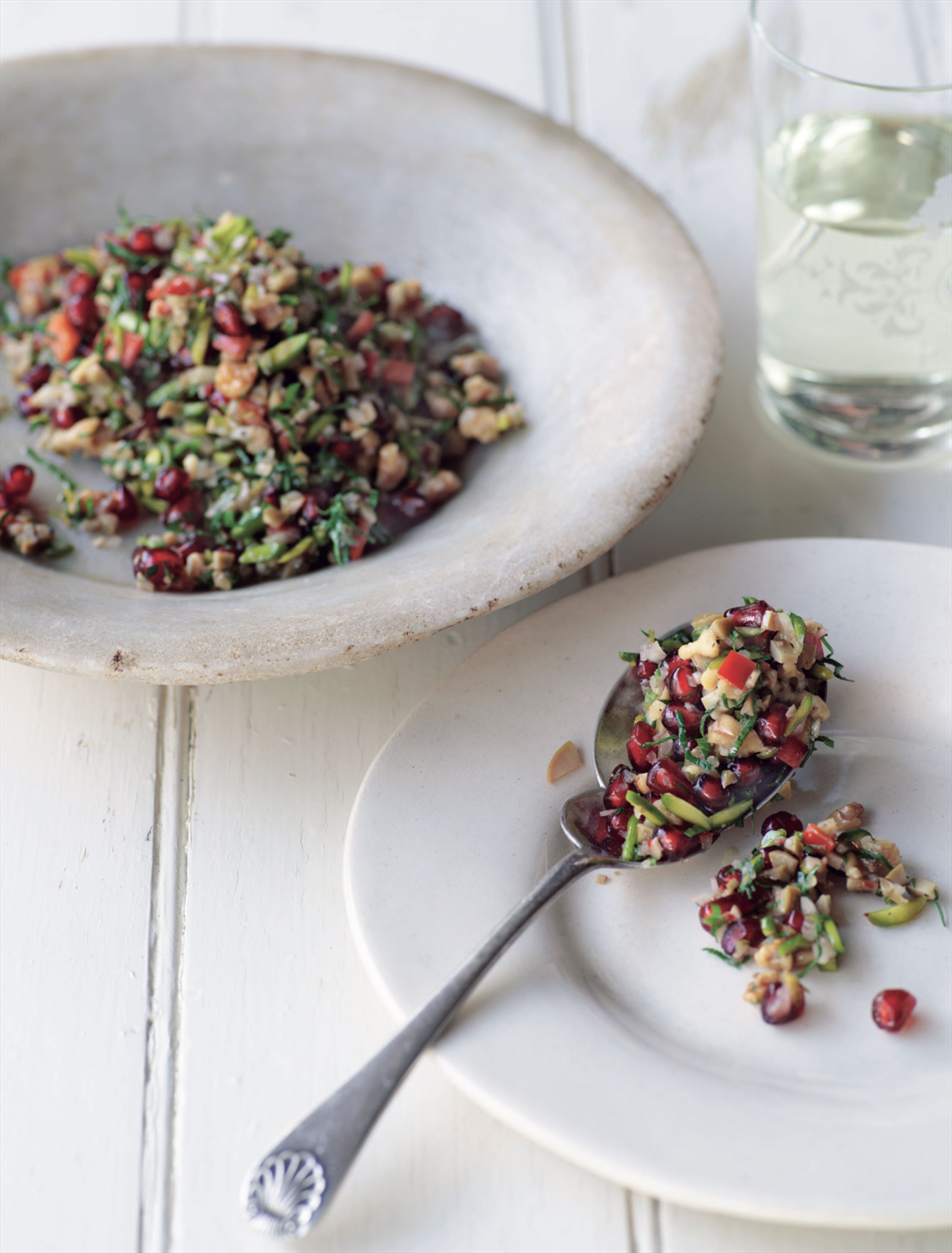 Green olive, walnut and pomegranate salad