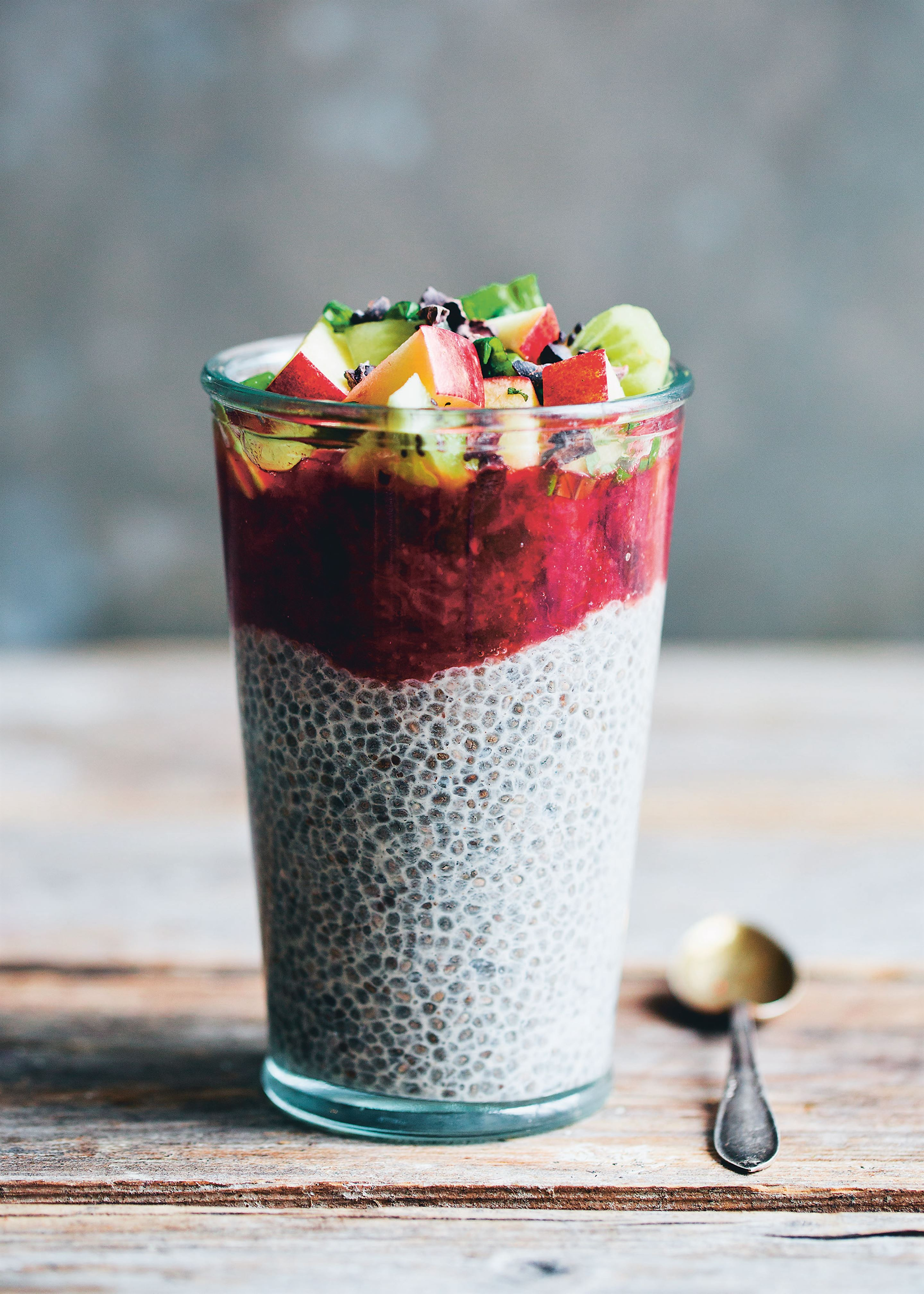Chia and strawberry pudding