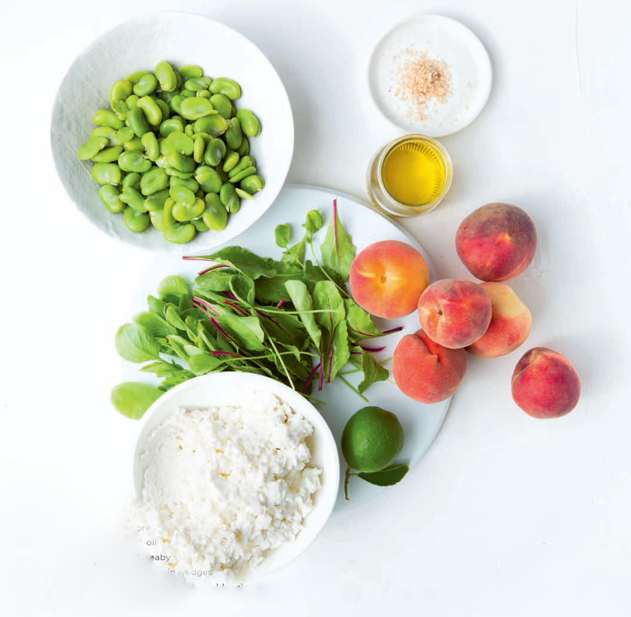 Broad beans, ricotta & peaches