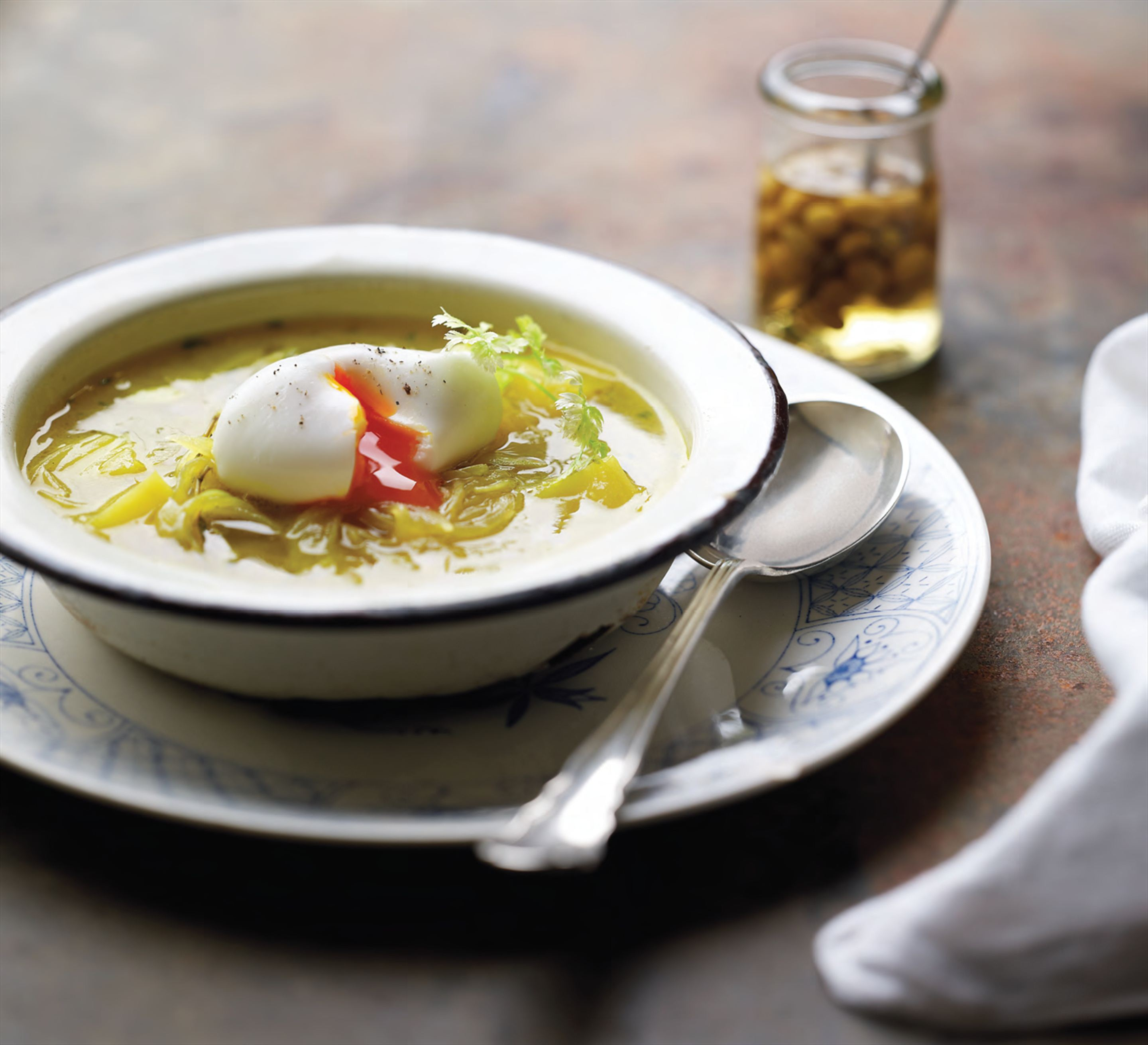 Persepolis onion soup with soft-poached eggs