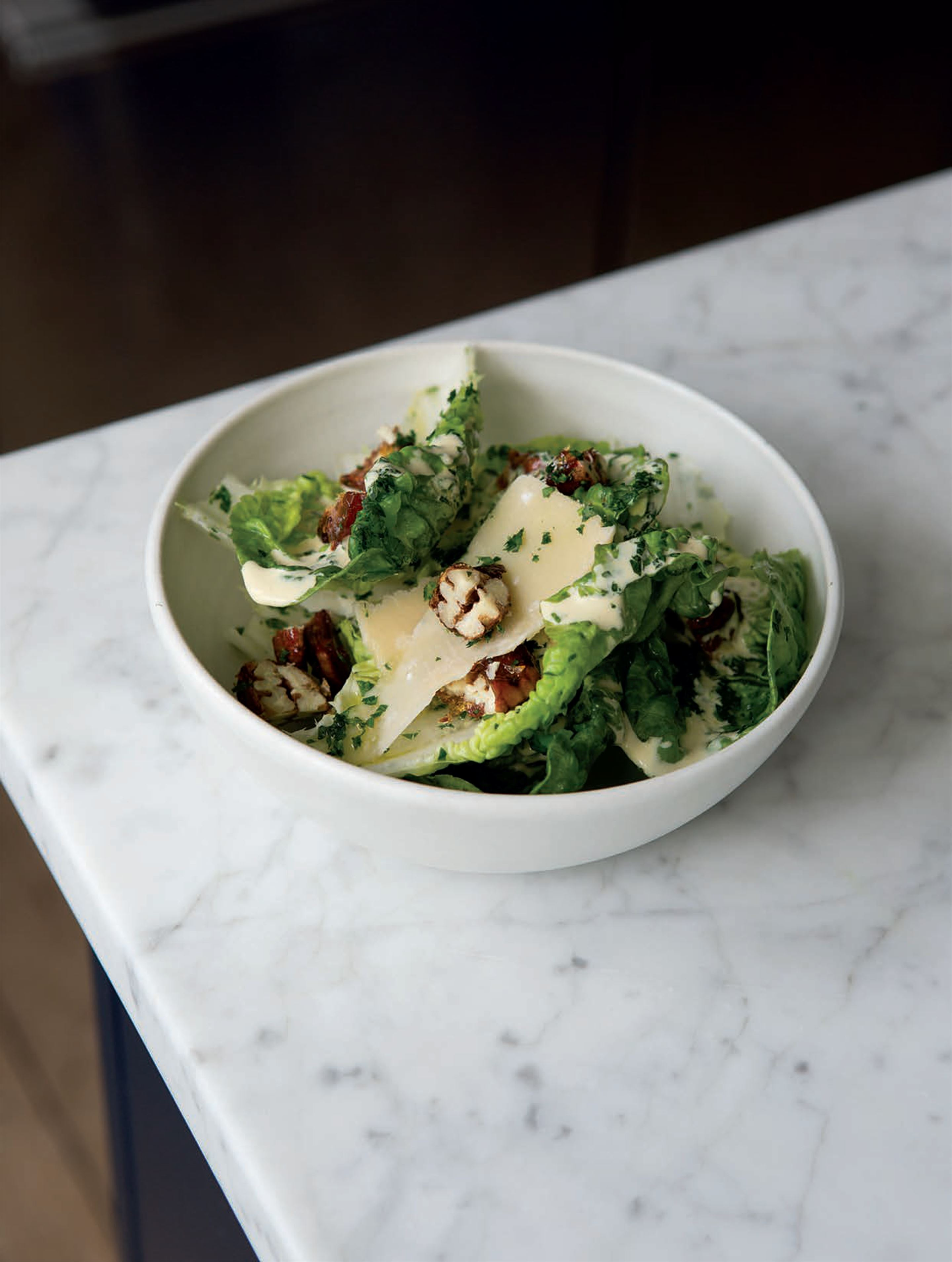 Little gem, candied walnuts and Caesar dressing