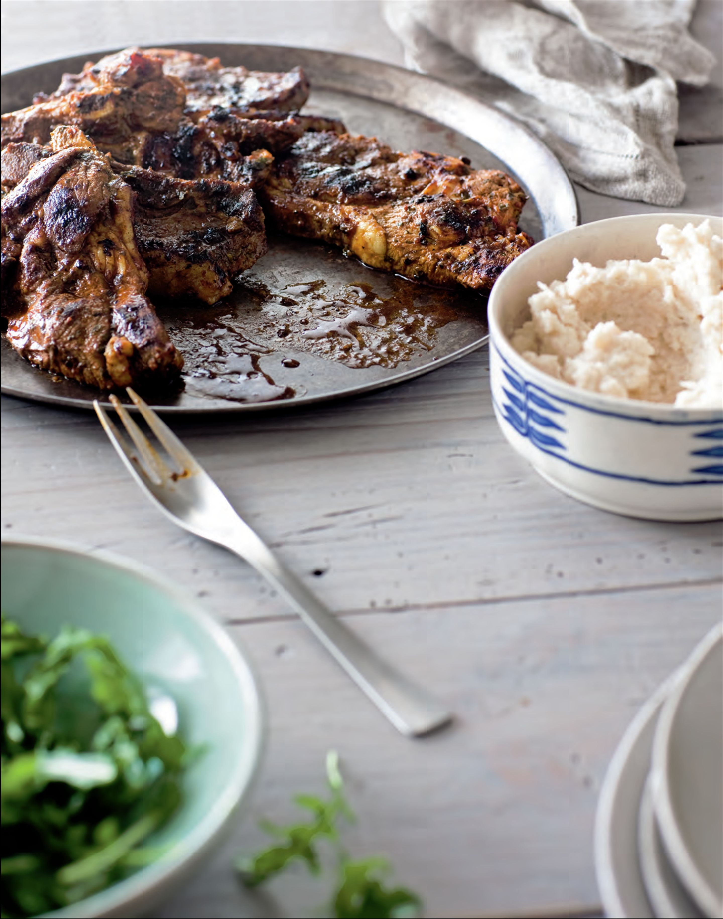 Lamb steaks with herbs and harissa