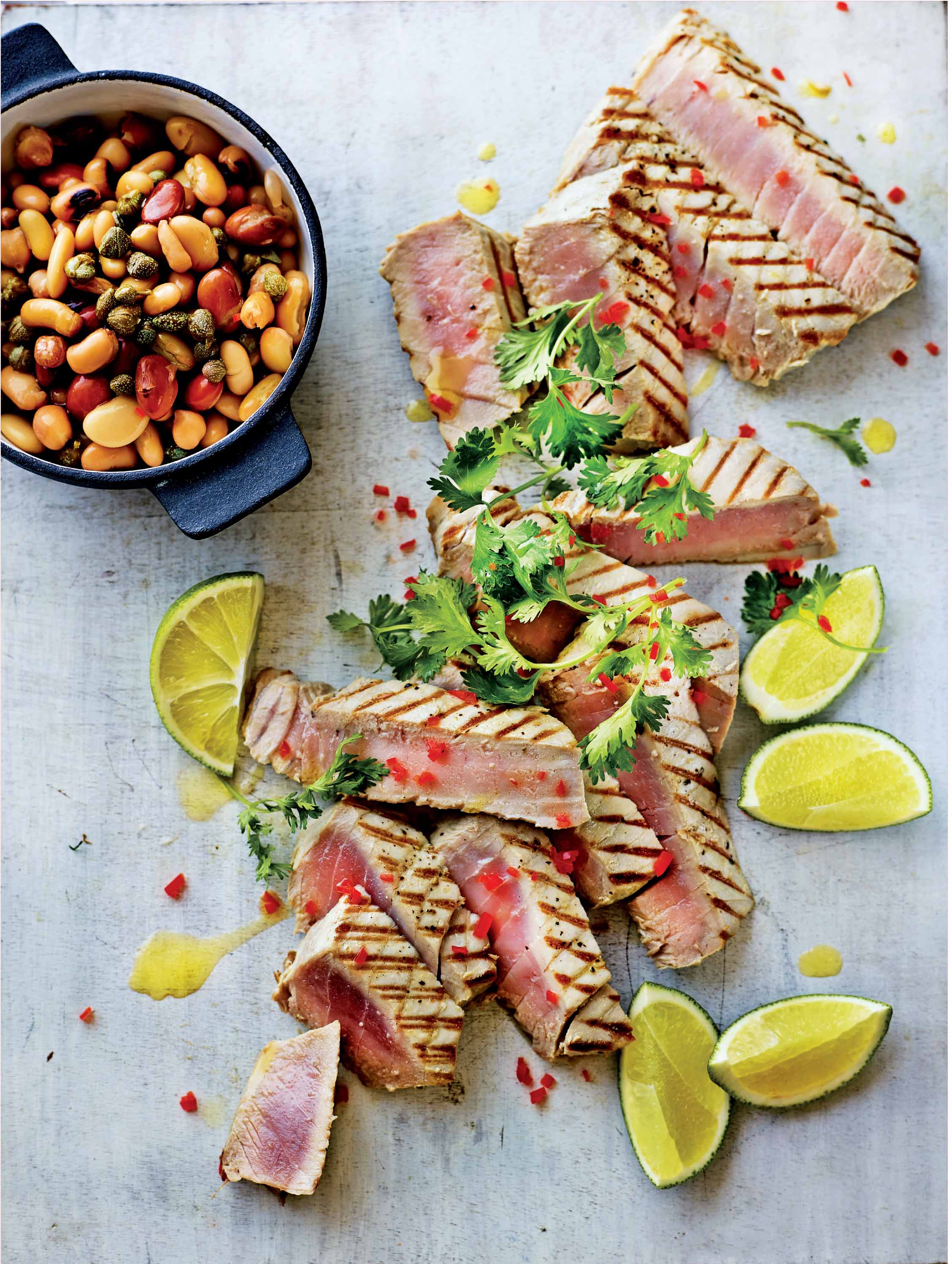 Tuna steak with herbed bean salad
