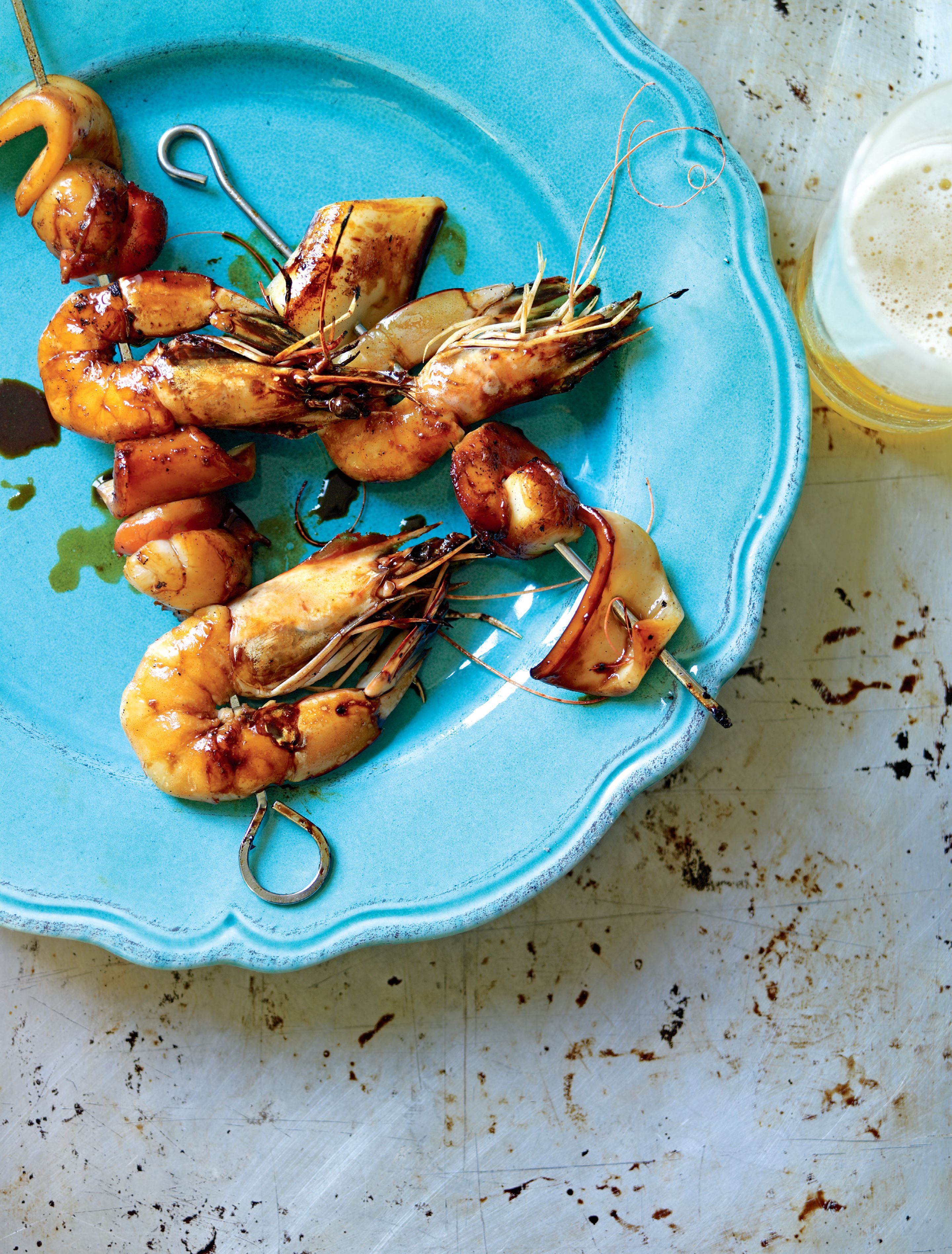 Barbecued sweet-glazed seafood