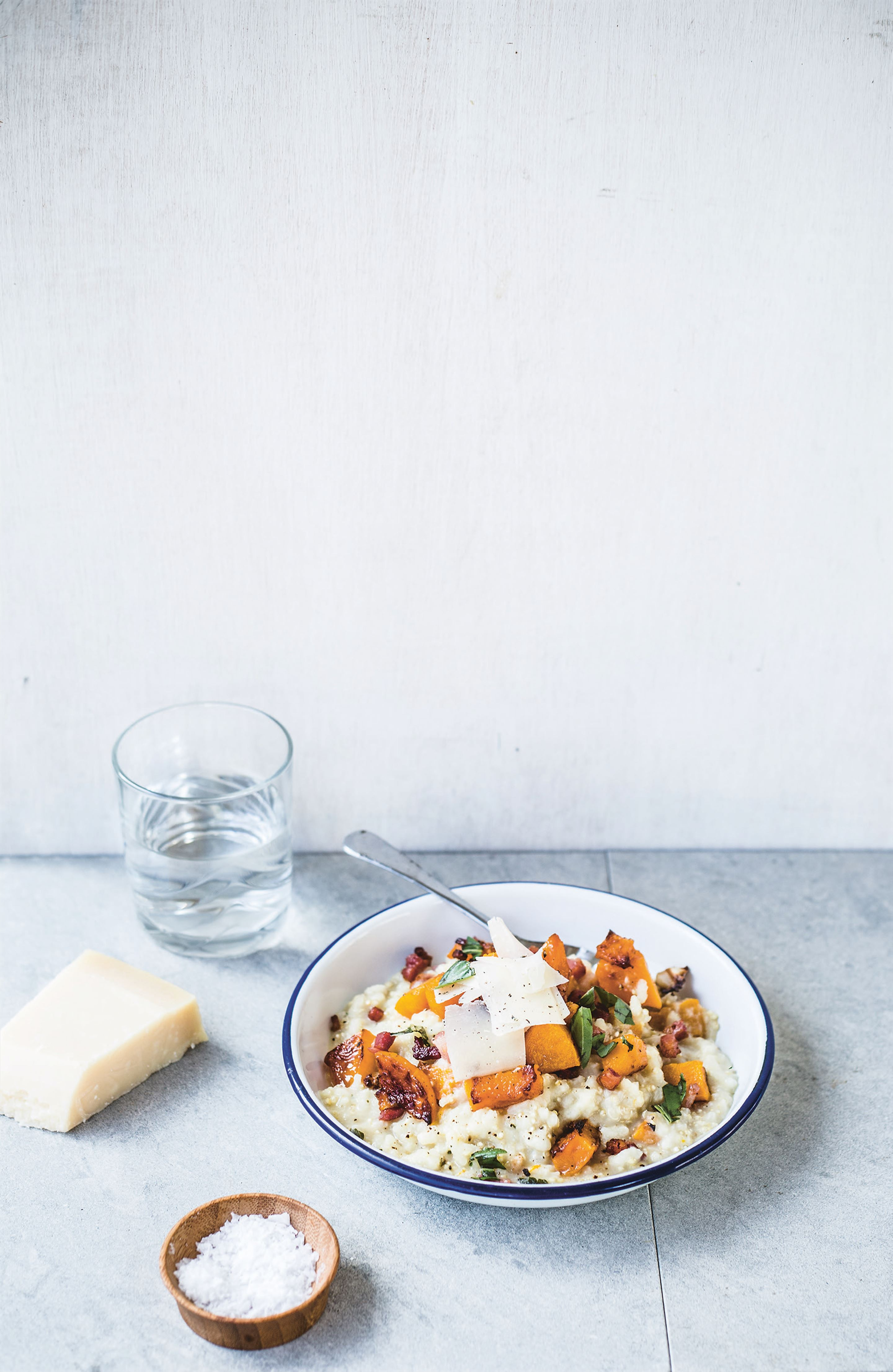 Squash, pancetta and cauliflower risotto