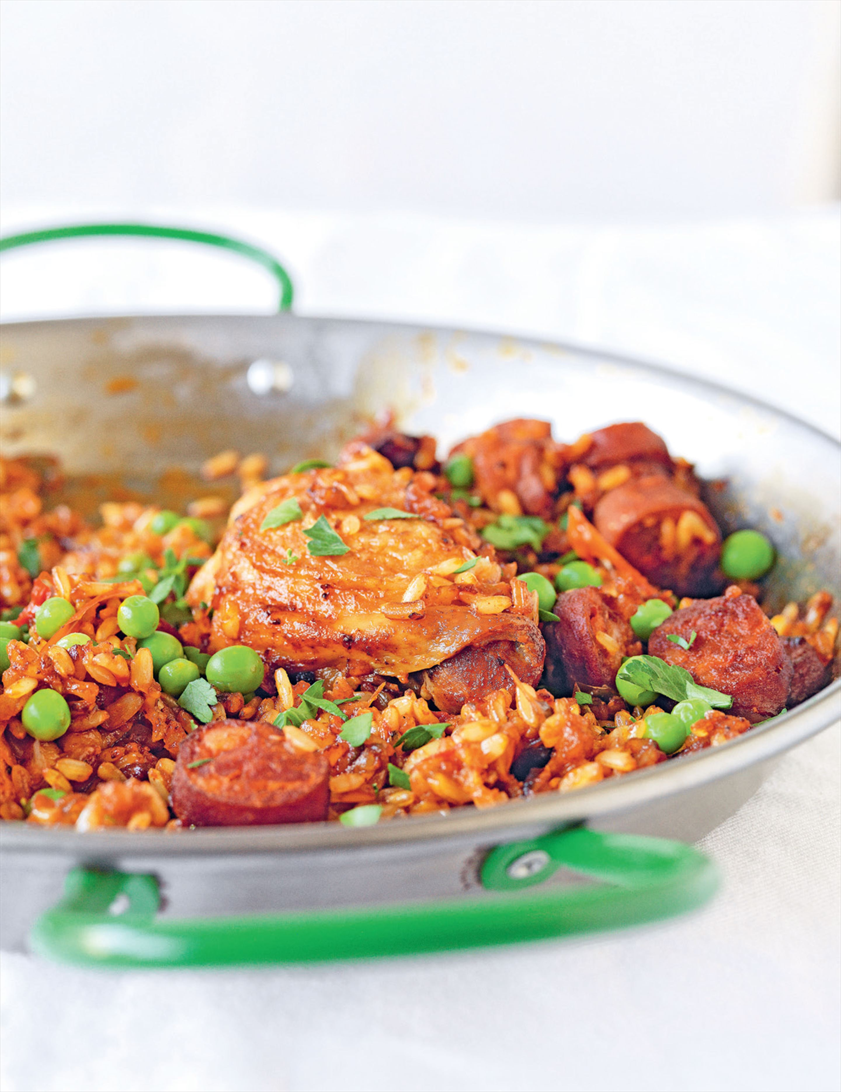 Spanish saffron rice with chicken, chorizo & peas