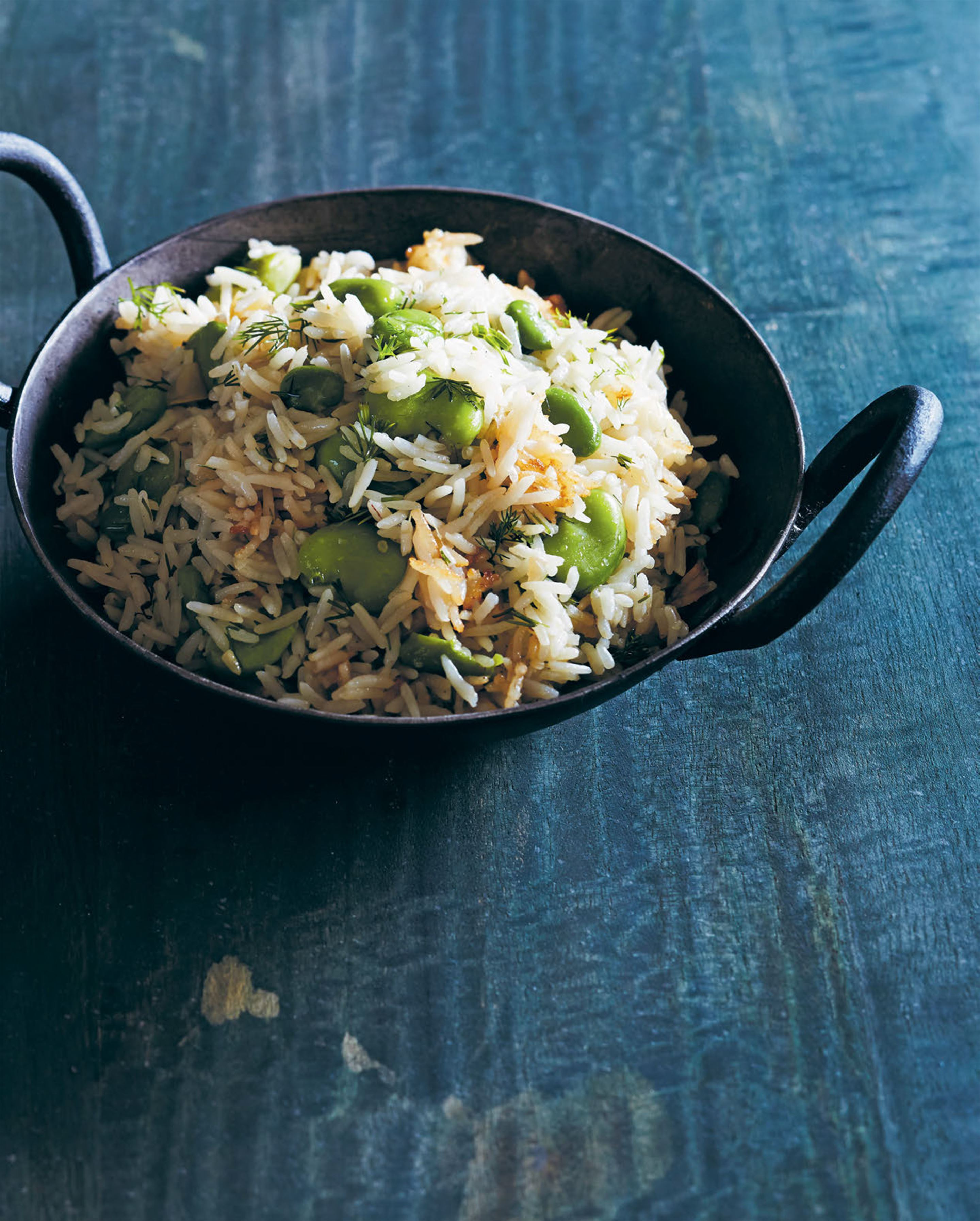 Broad bean pilaf