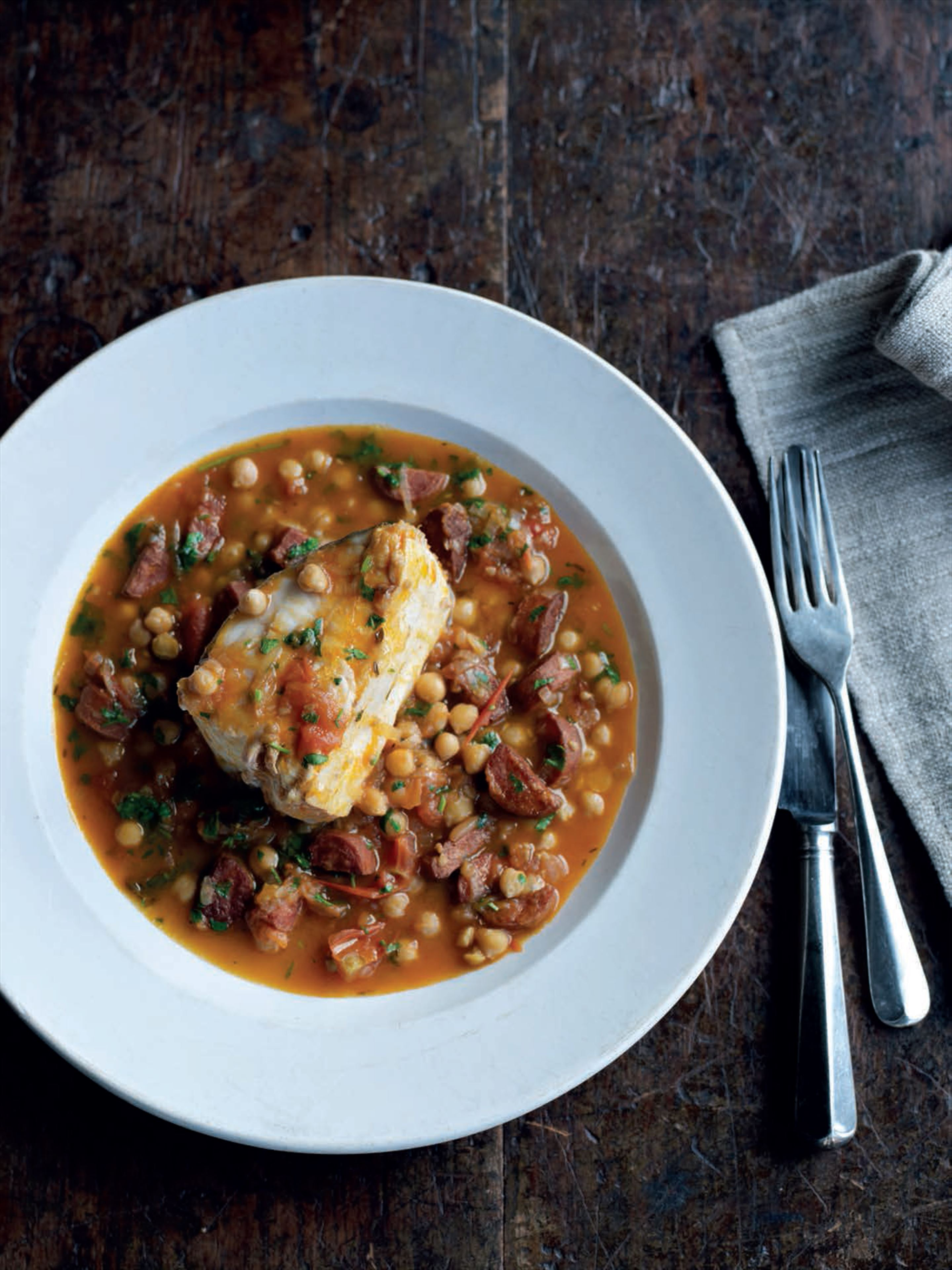 Braised halibut with chickpeas and chorizo