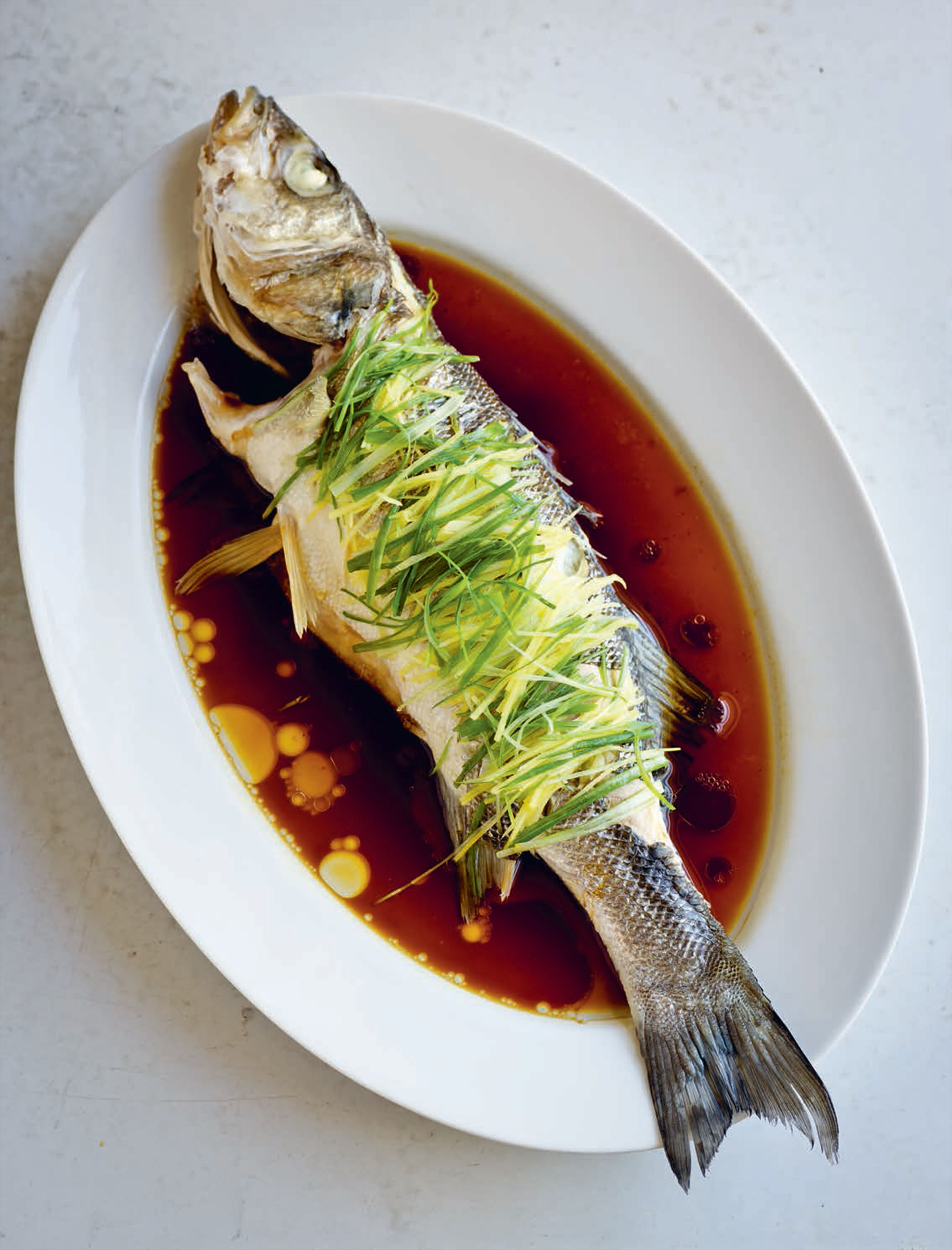 Steamed sea bass with ginger and spring onion