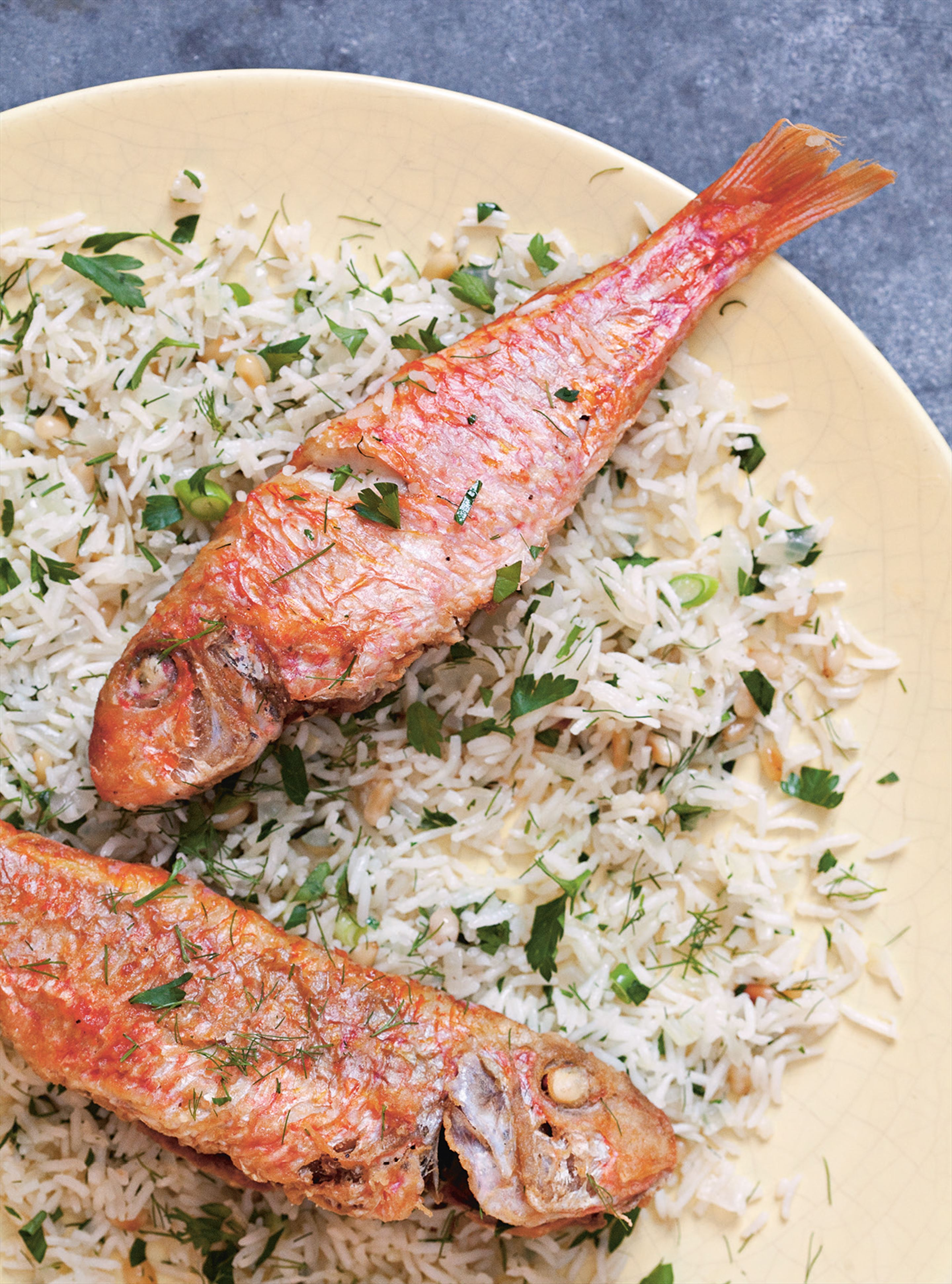 Fried red mullet with herbed pilaf