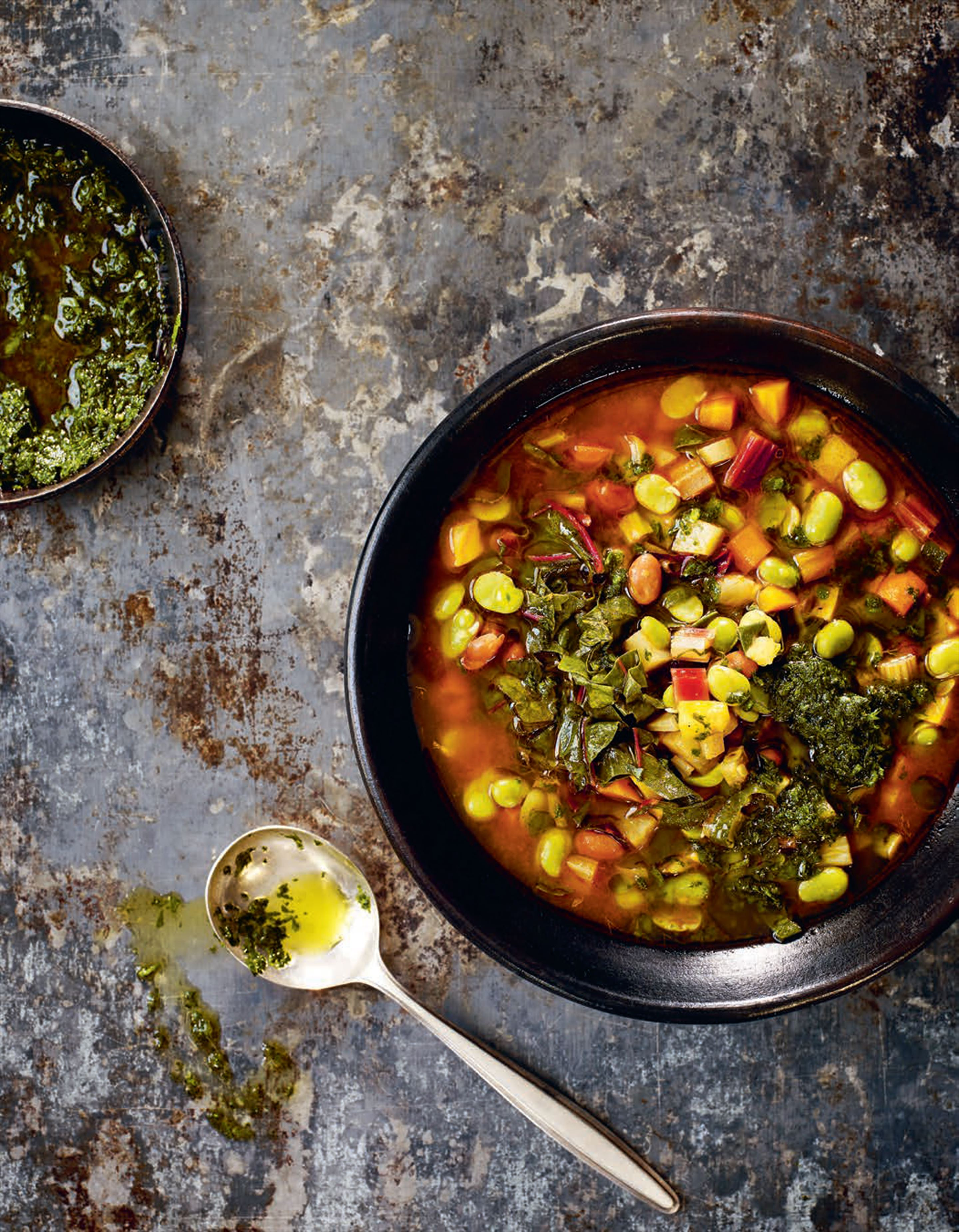 Rich tomato broth with chard, borlotti beans and parsley pistou