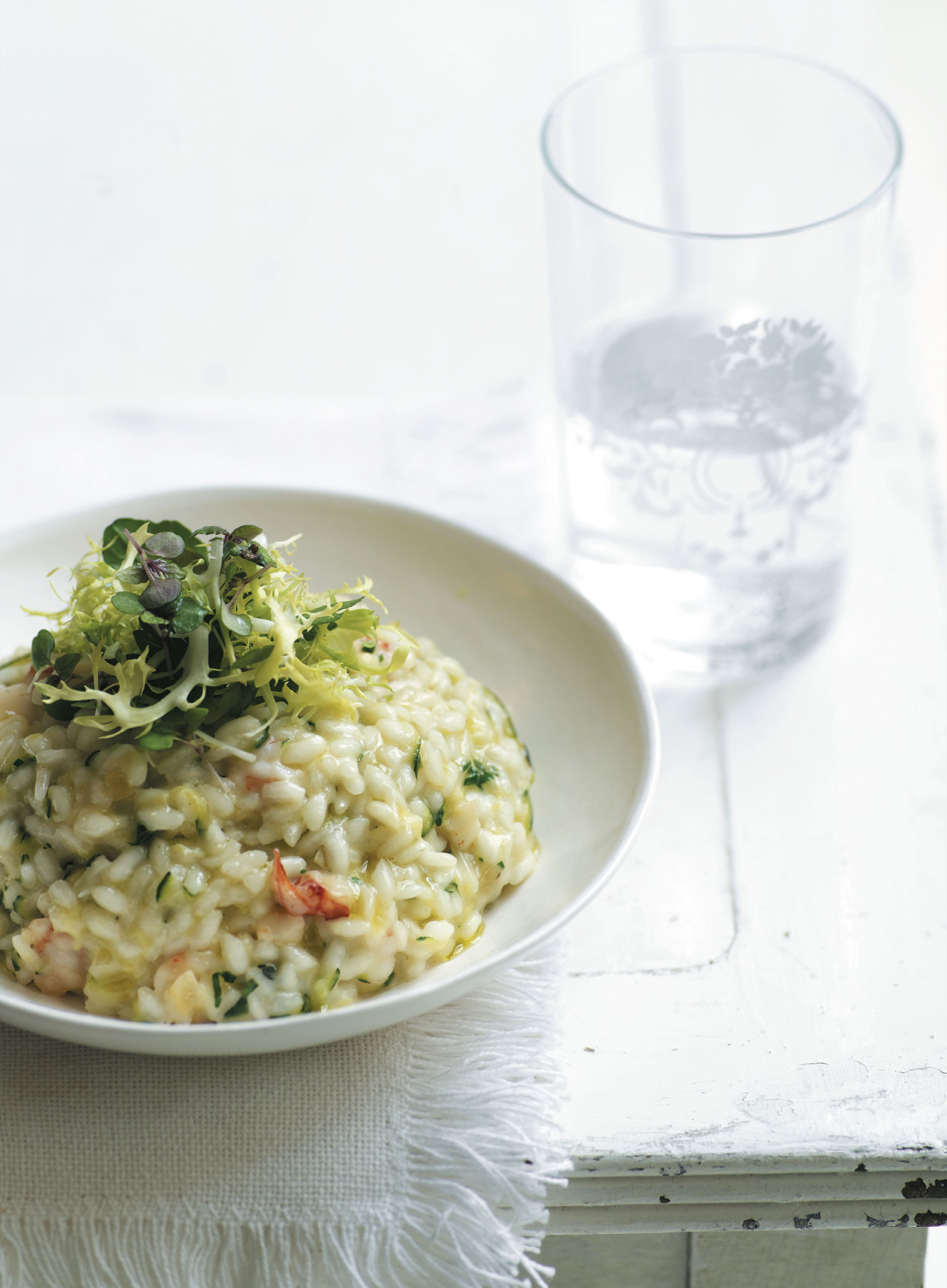 Risotto with zucchini, prawn and preserved lemon