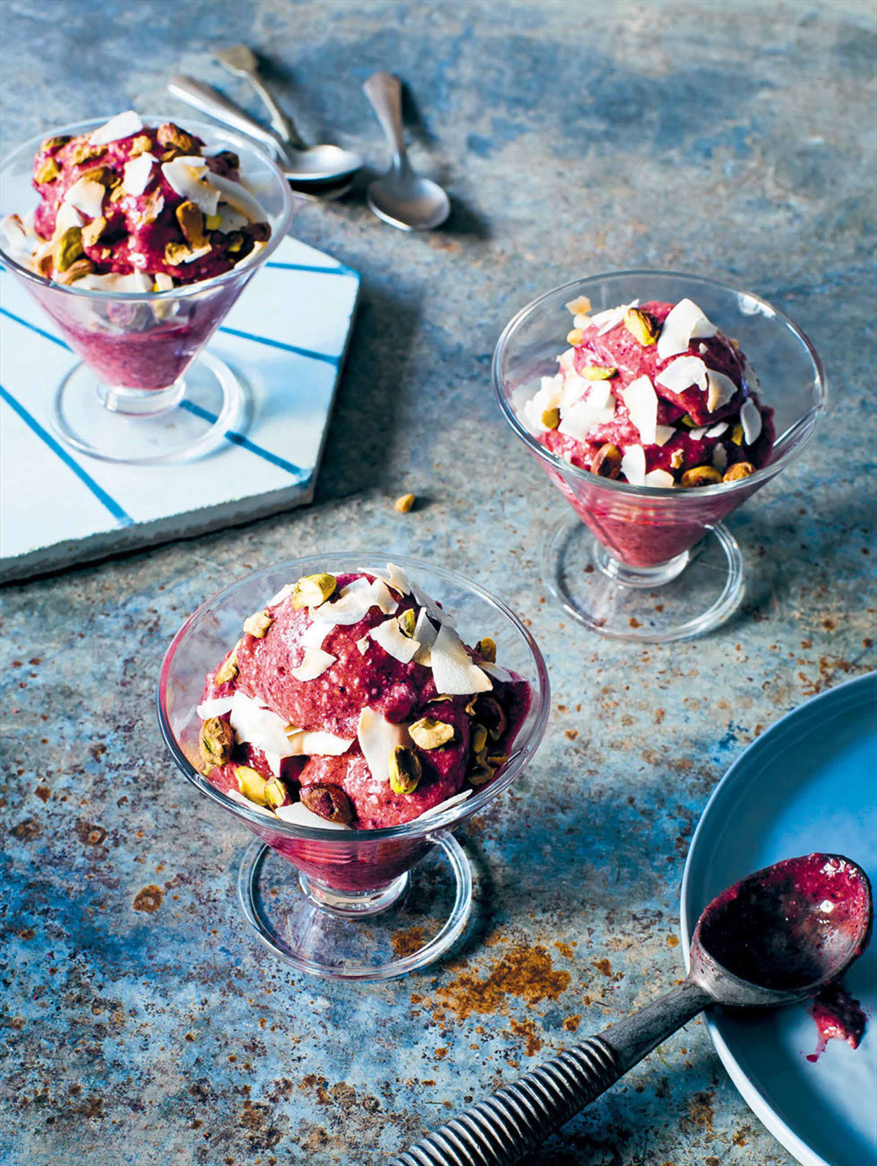 Chocolate, cherry & coconut ice cream