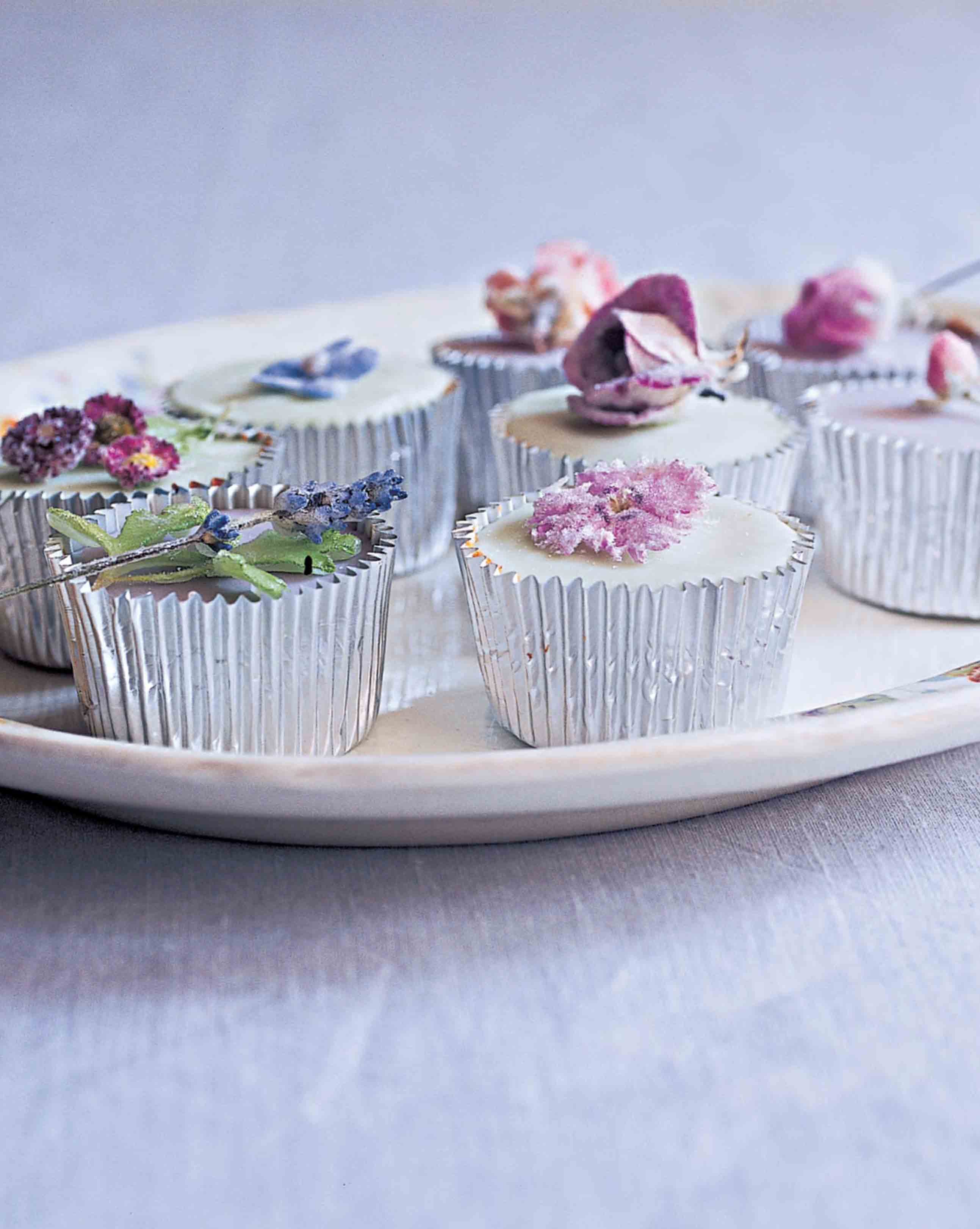 Crystallised flower fairy cakes