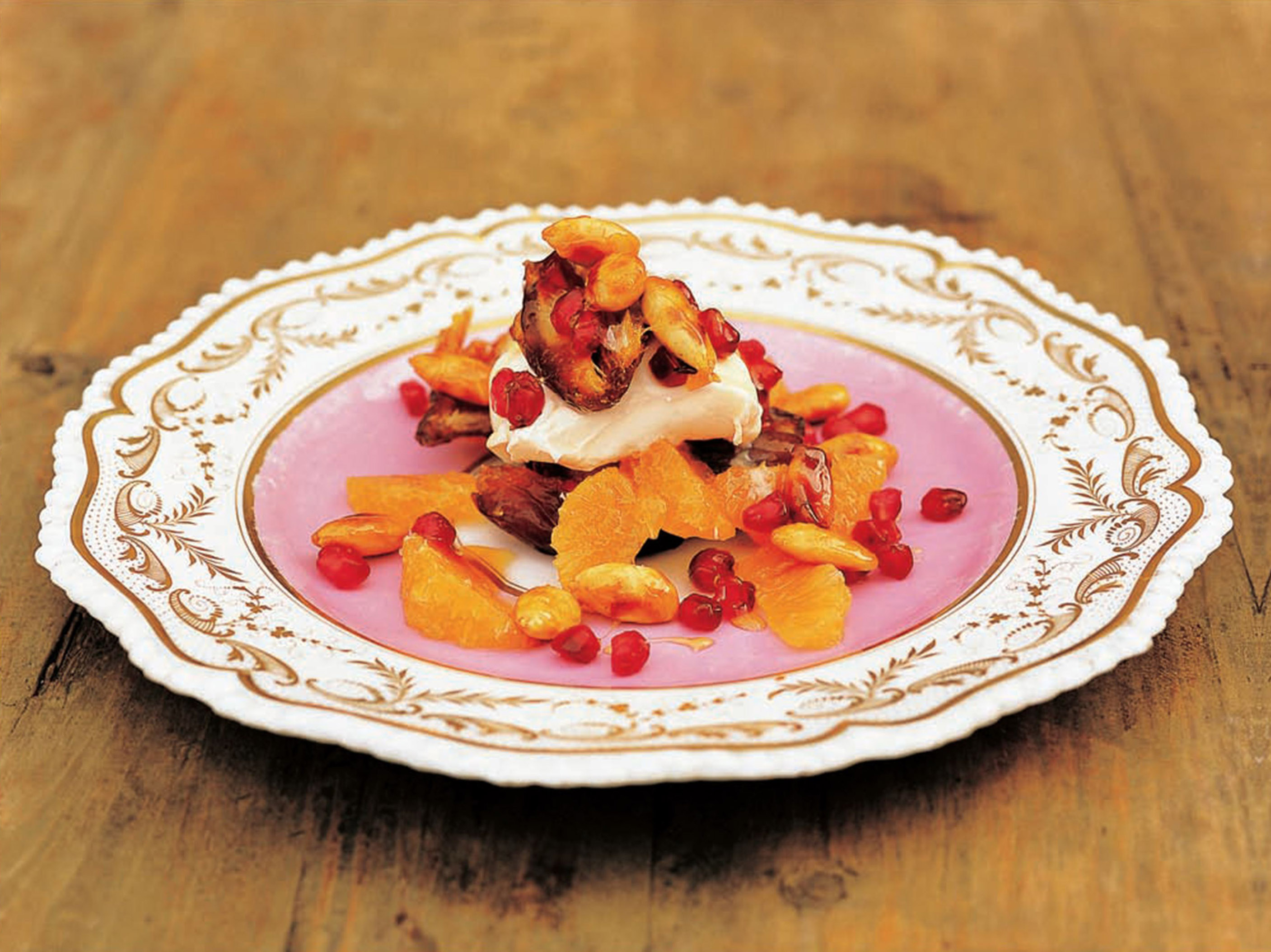 Clementines with medjool dates, pomegranates and honeyed almonds