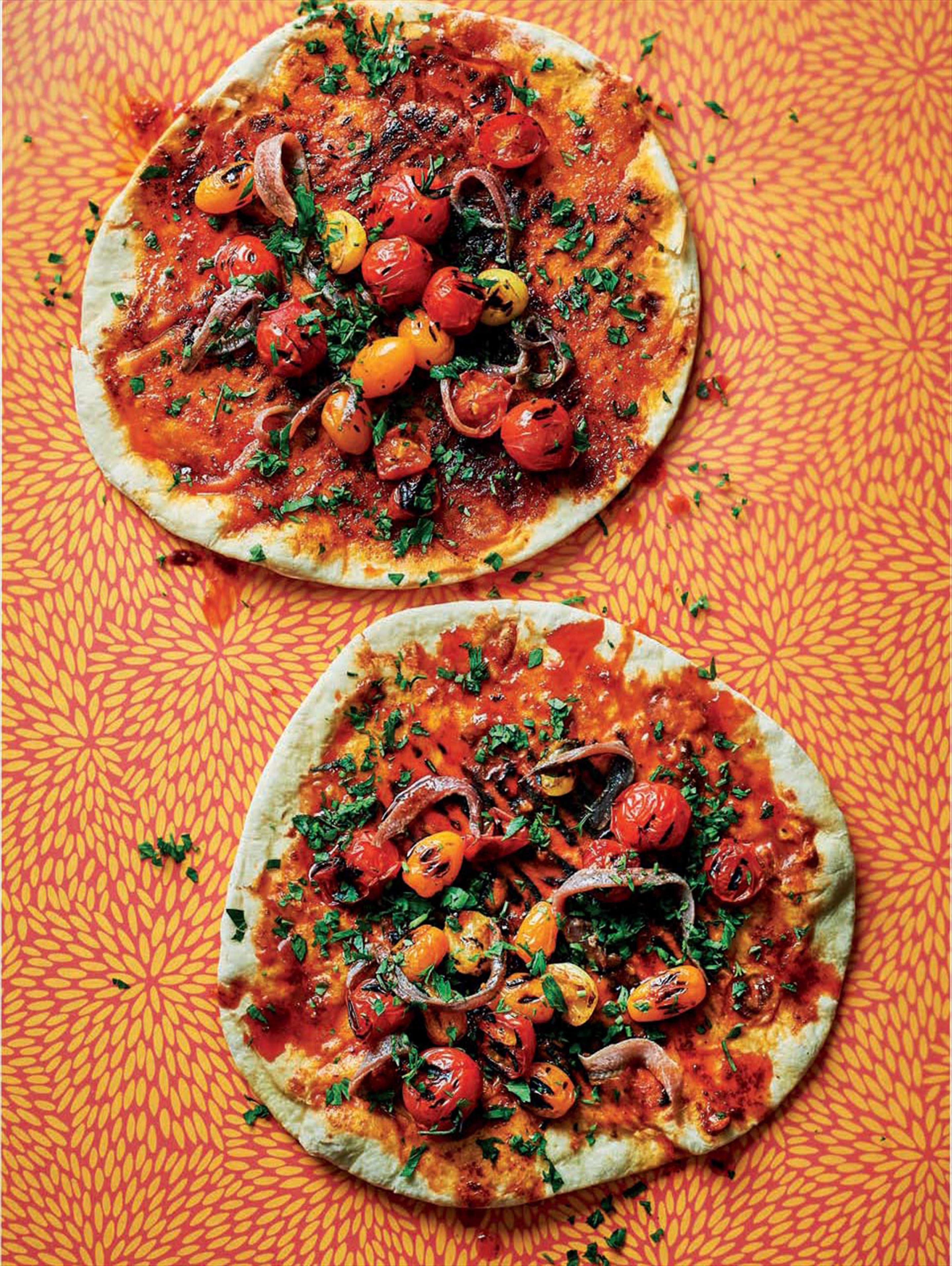 Anchovy & tomato paprika flatbreads