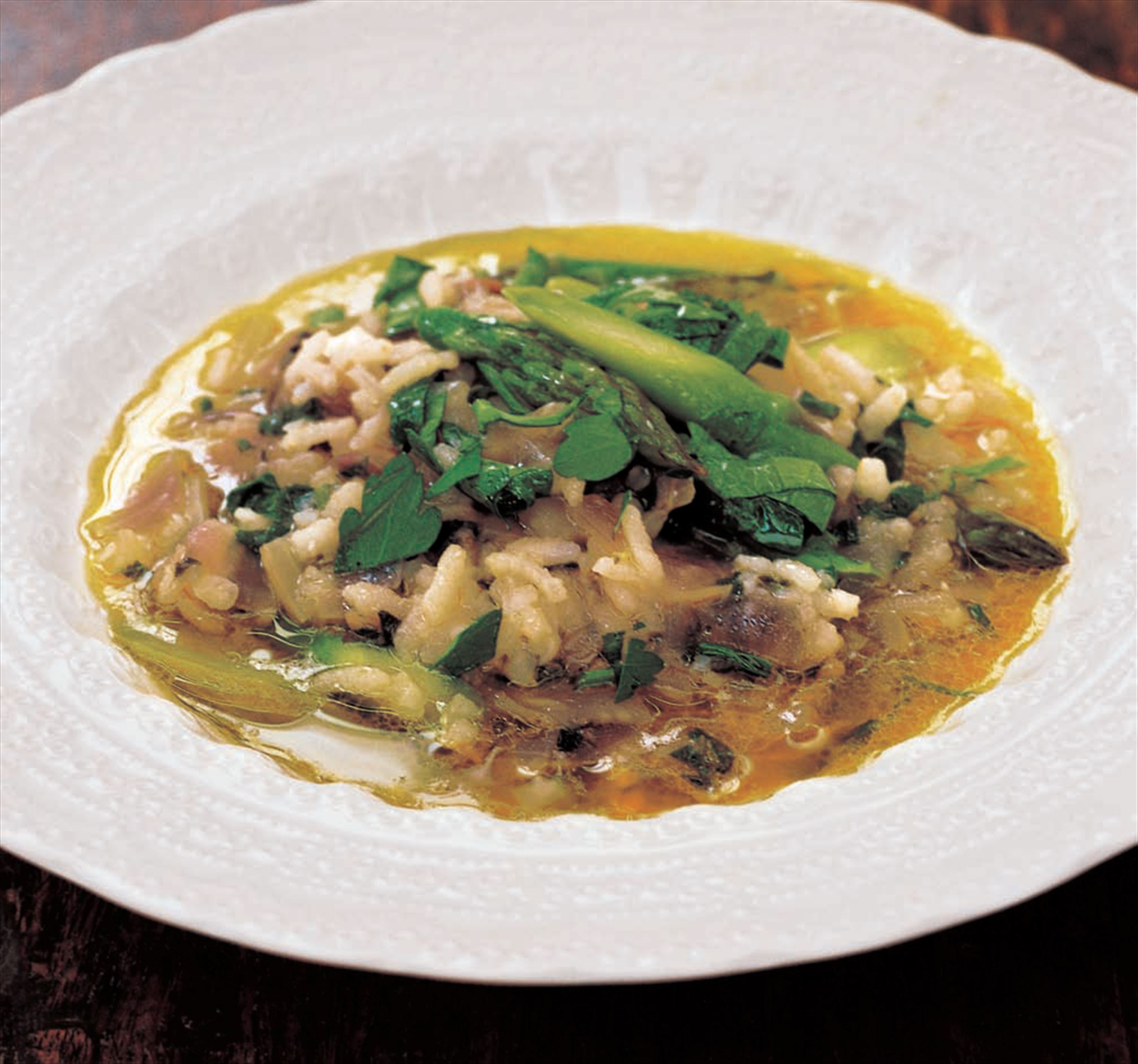 Asparagus, rice and pancetta soup