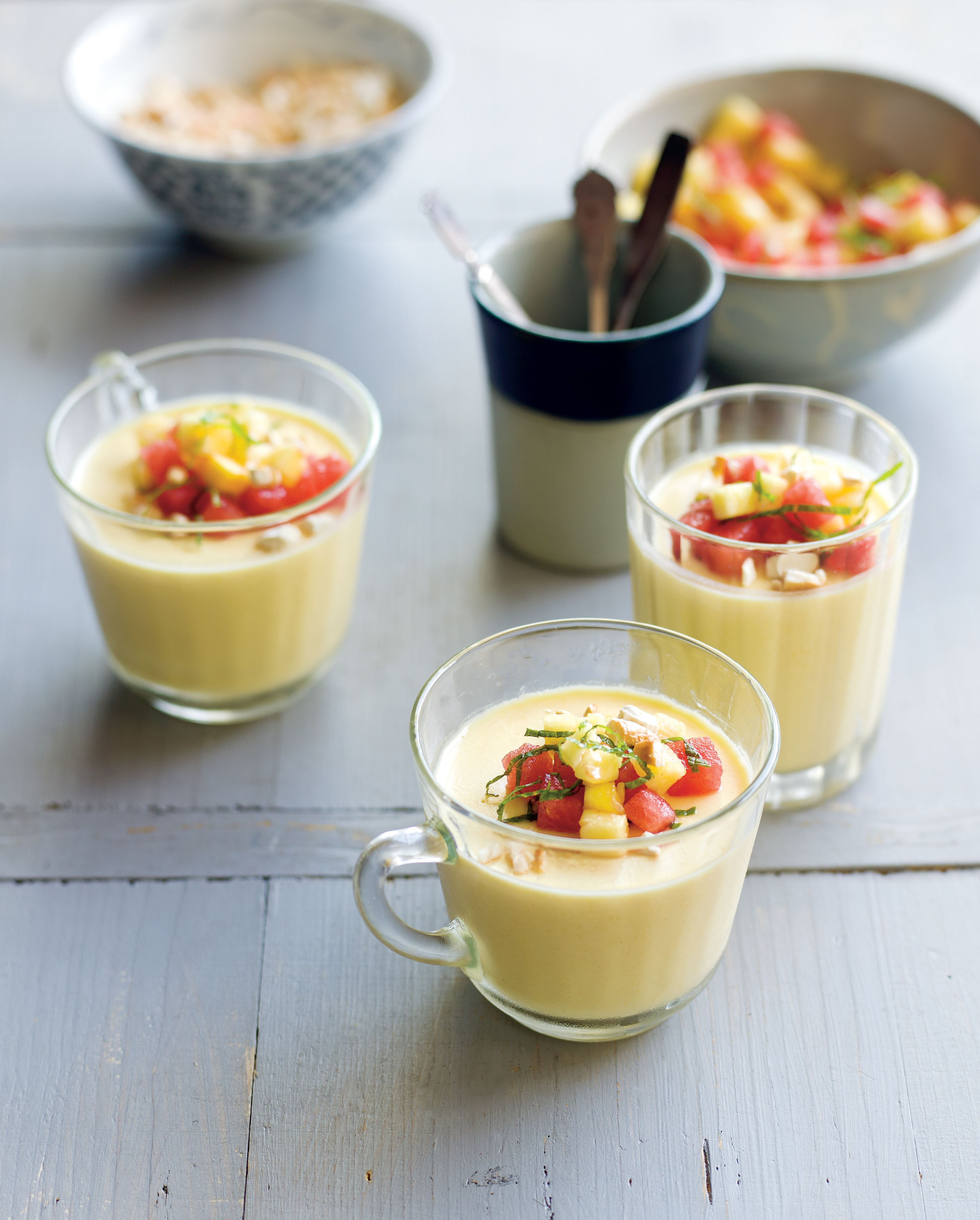 Mango panna cotta with watermelon, pineapple and mint salsa