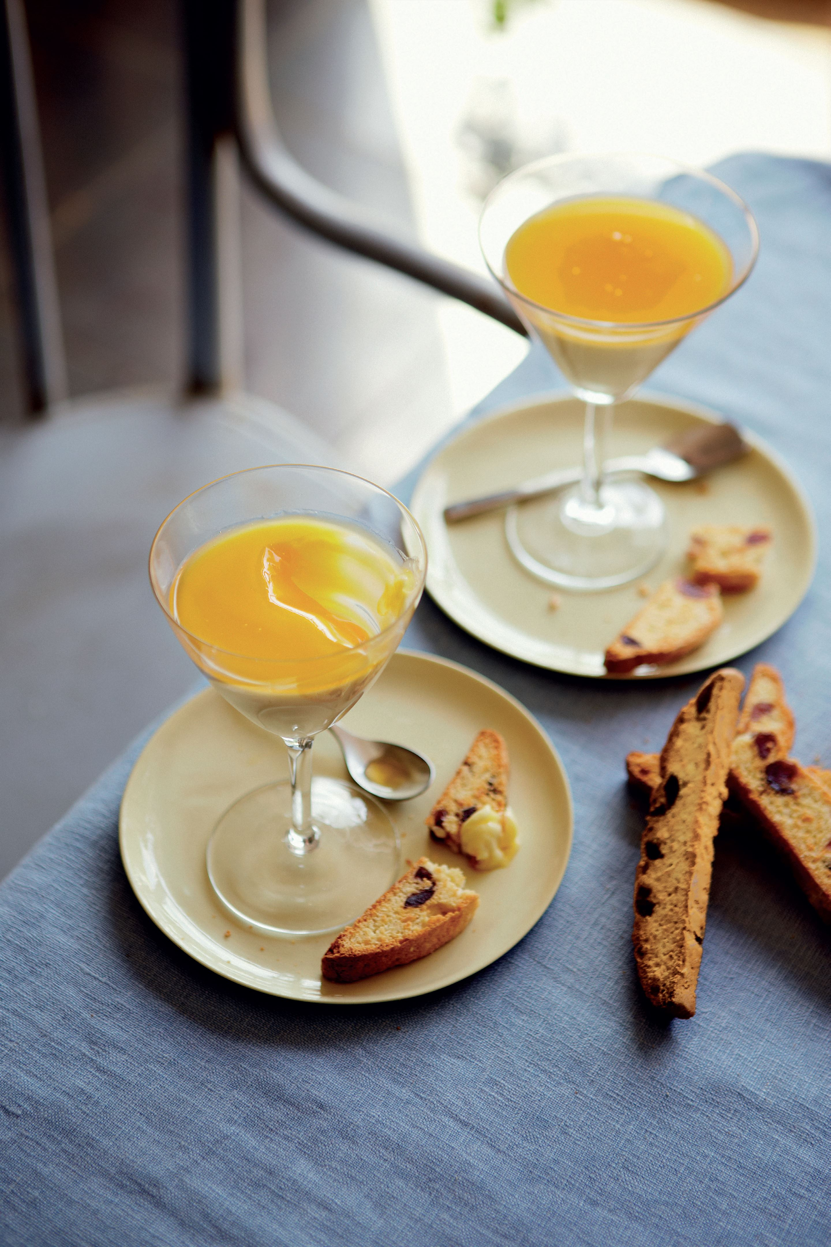 Passion fruit crème with coconut and cherry biscotti