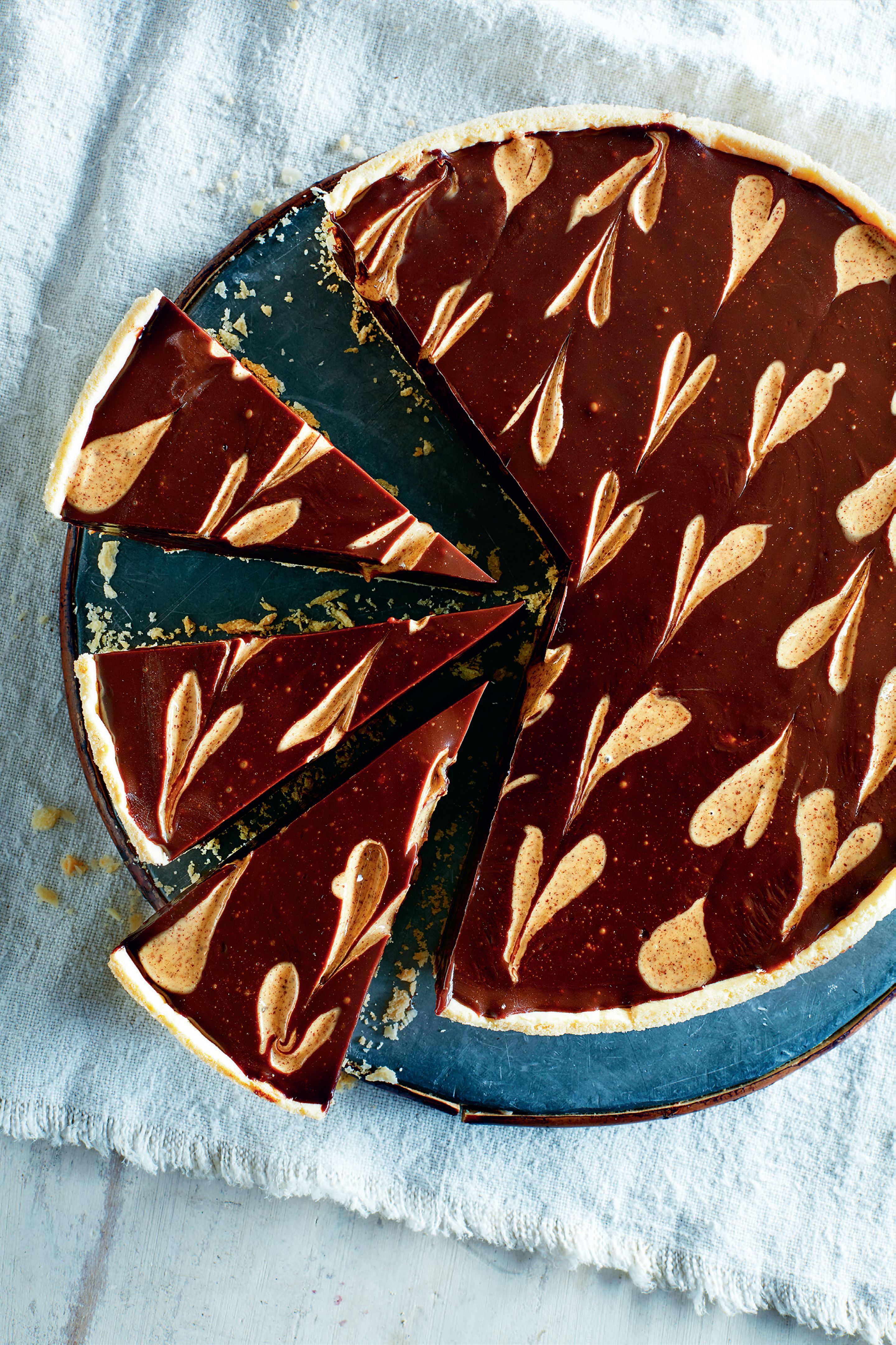 Espresso almond chocolate tart