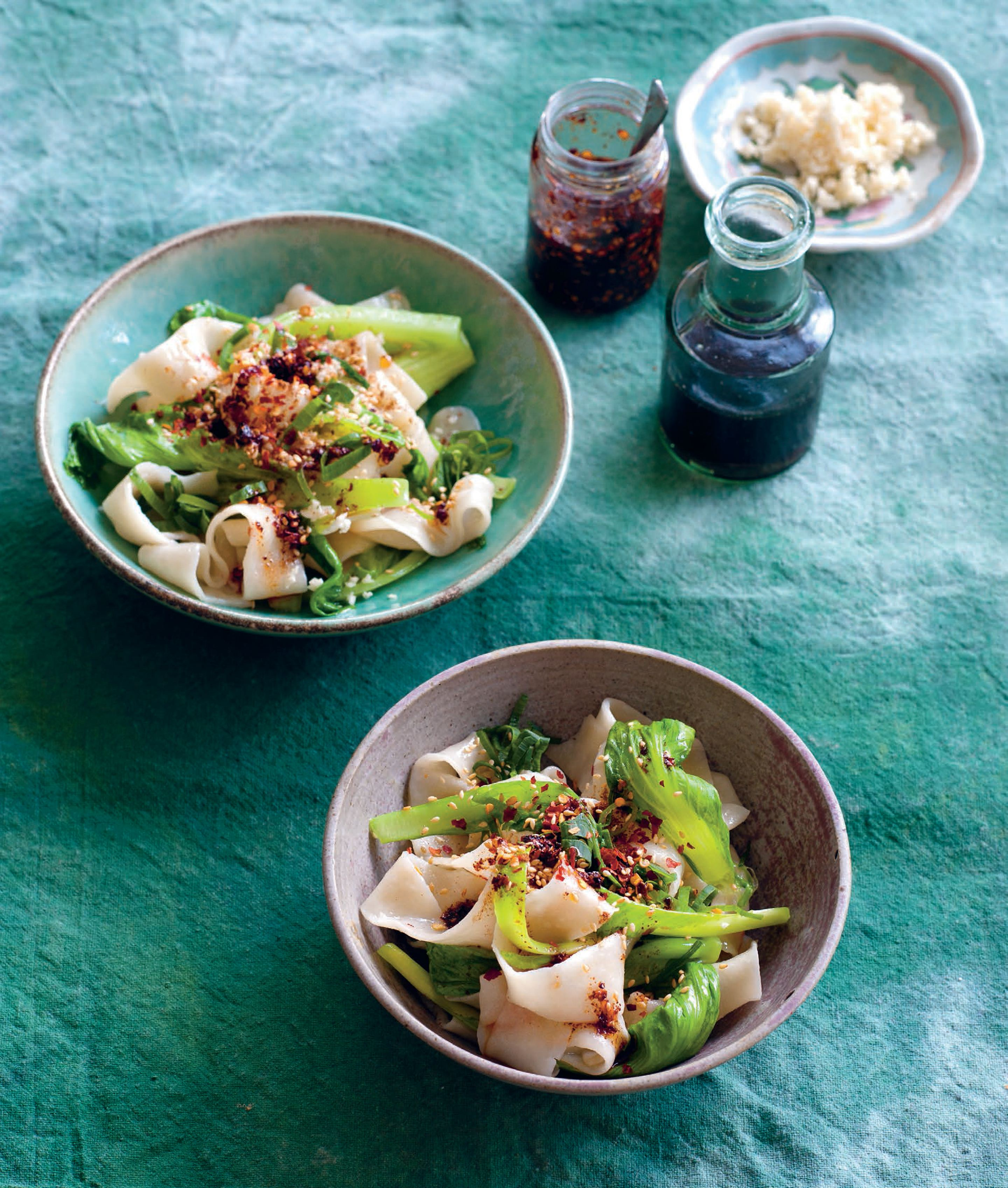 Hand-cut noodles with mustard greens, vinegar and chilli