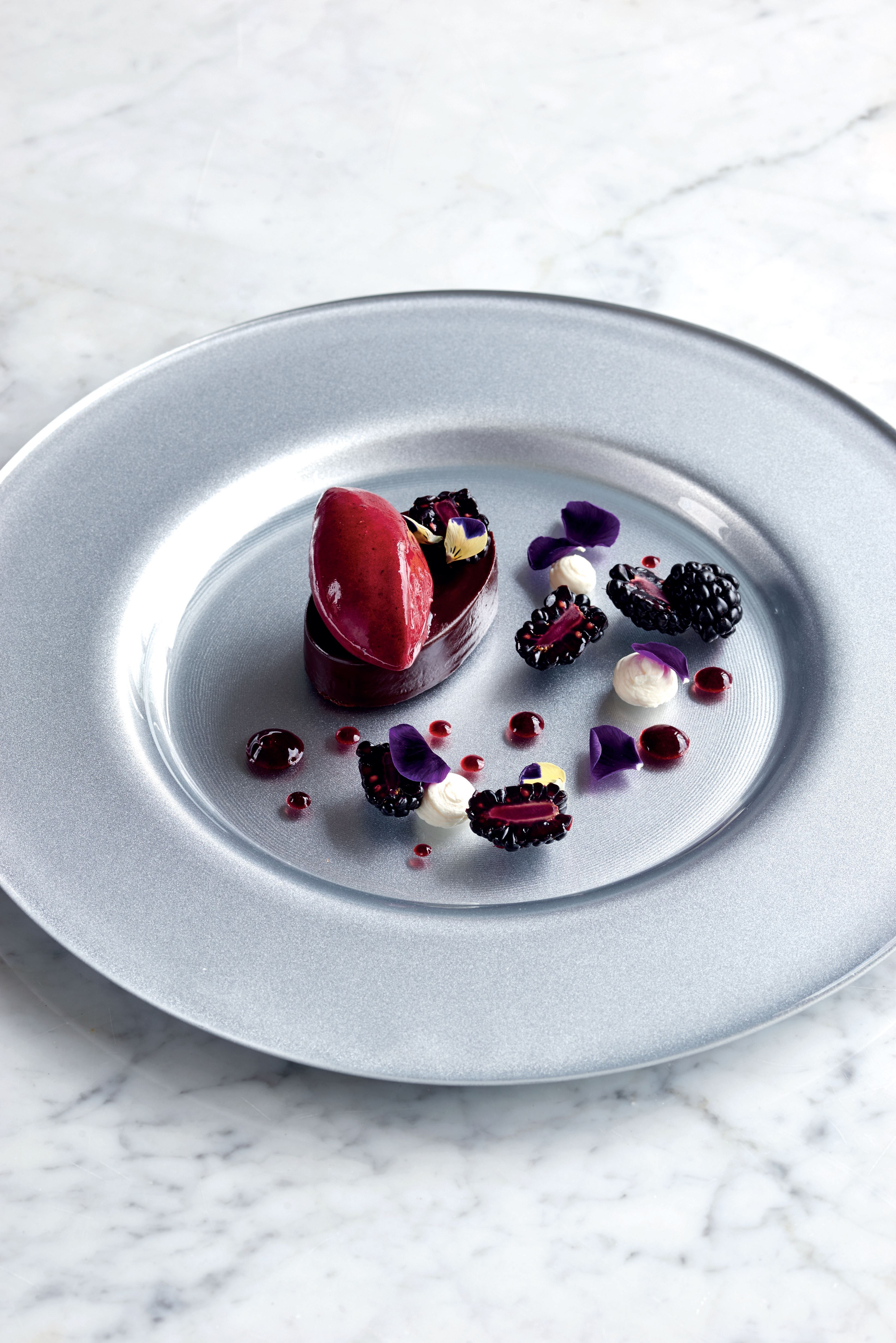 Chocolate ganache with blackberries and blackberry sorbet