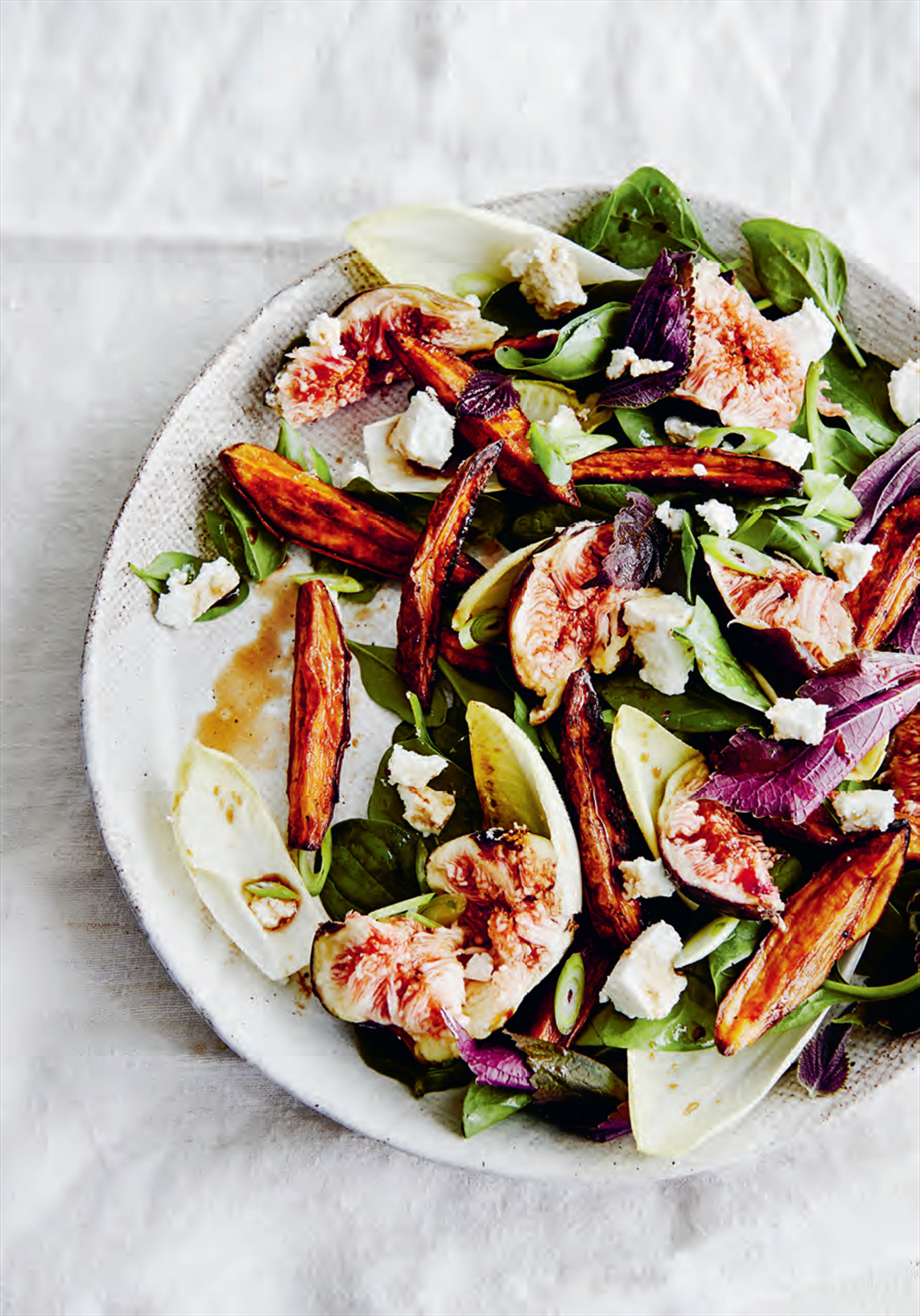 Sumac sweet potato, fig & chicory salad