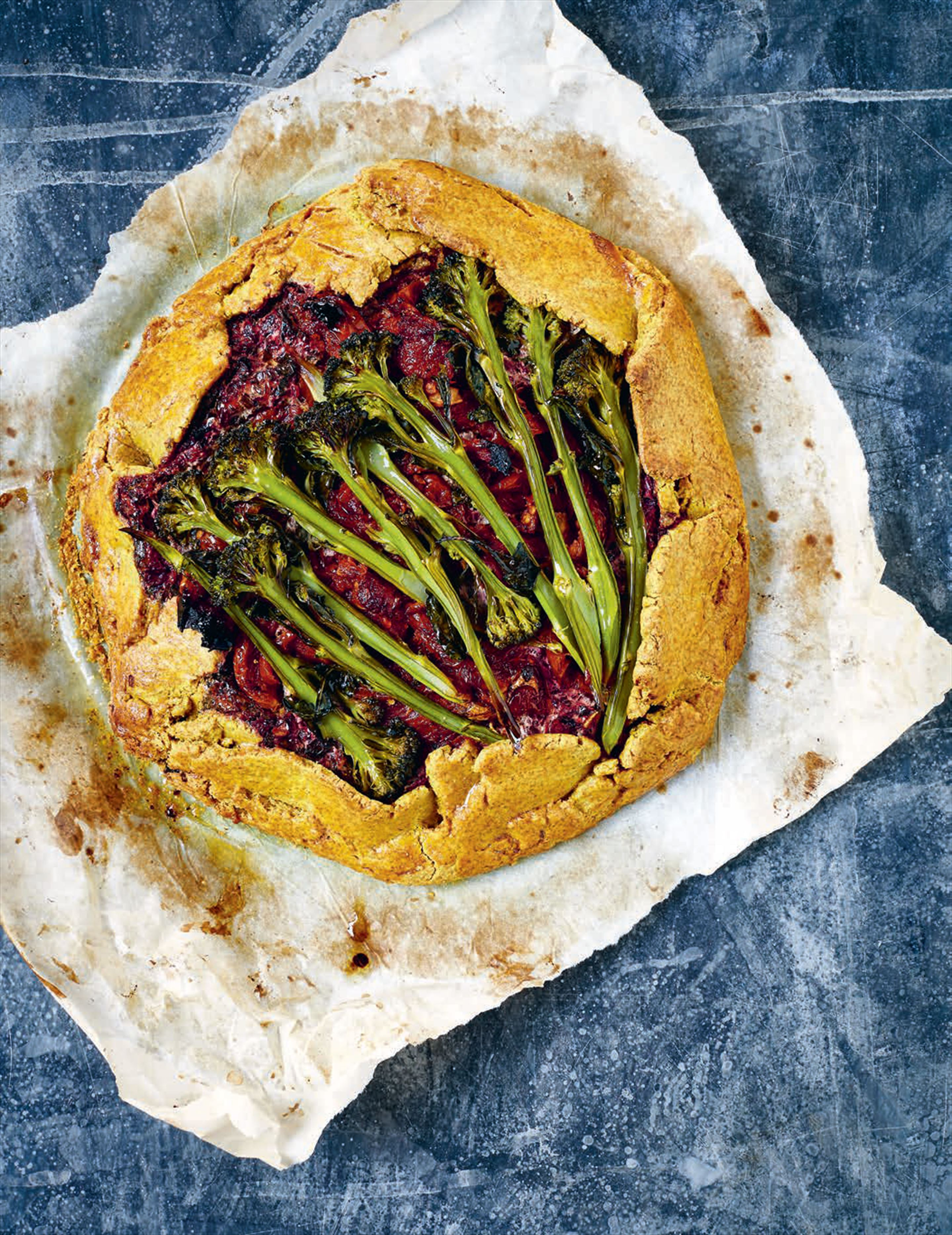 Broccoli and beetroot greens pie