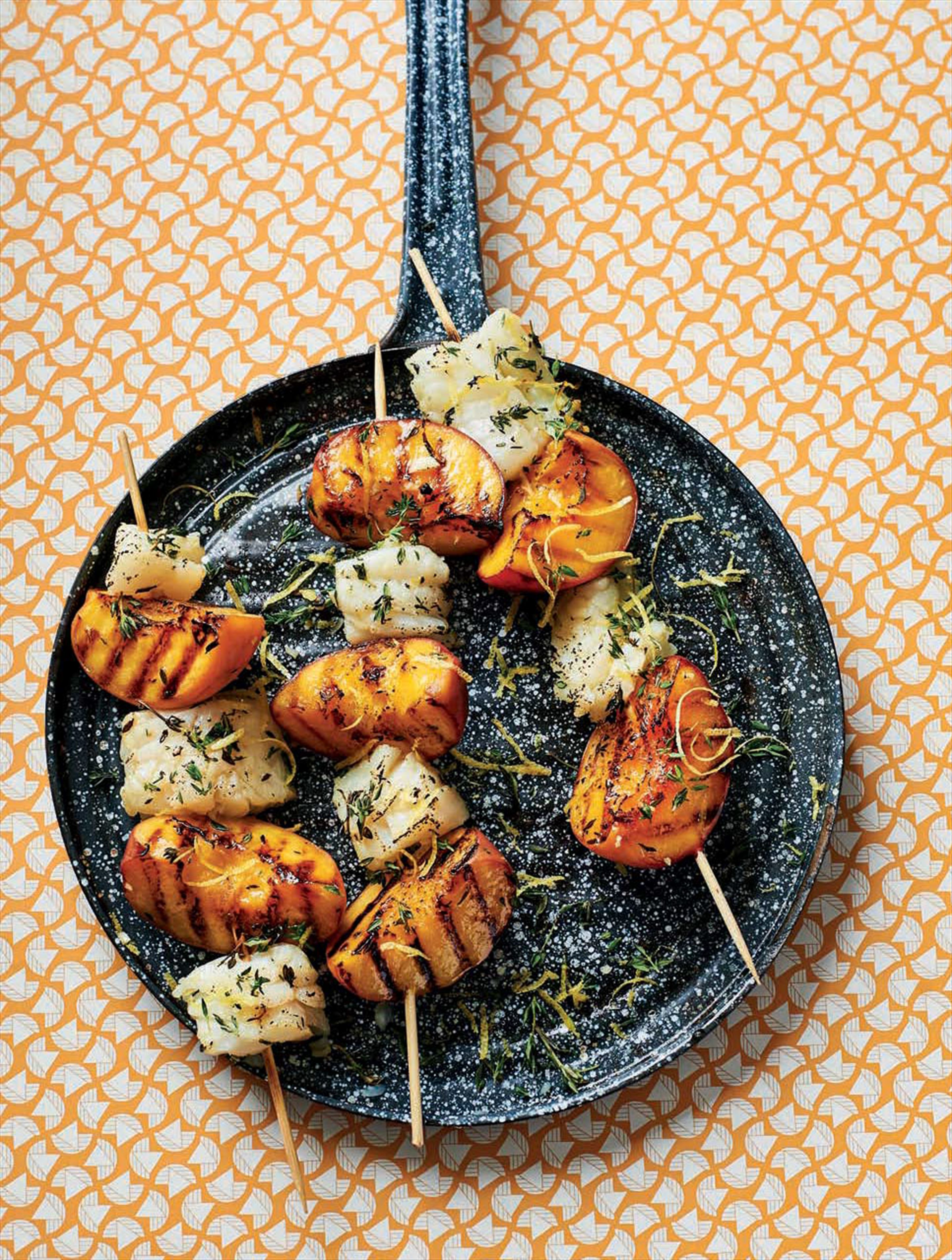 Garlic & lemon cod & peach skewers
