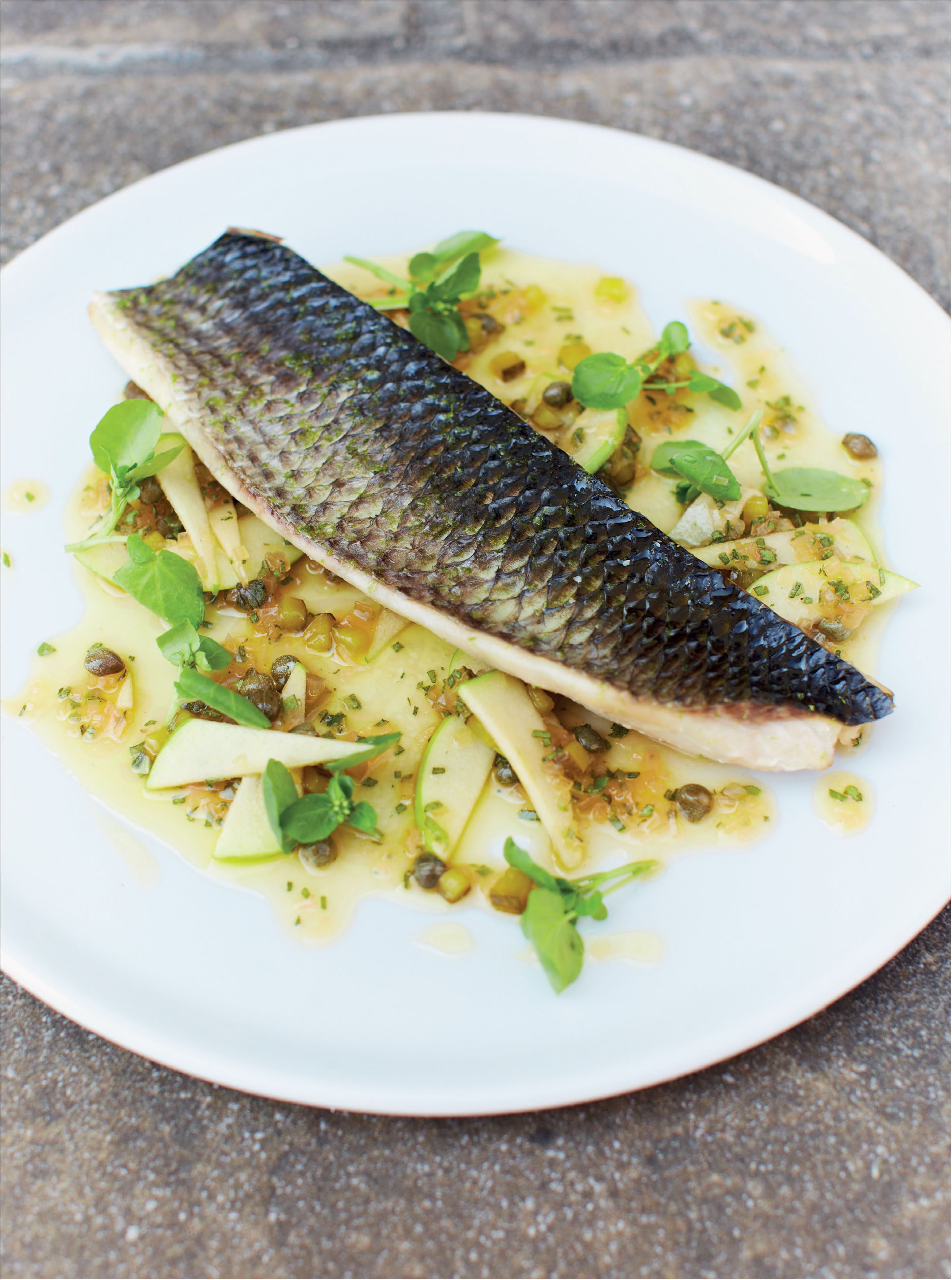 Smoked grey mullet with apple, cider and brown butter dressing