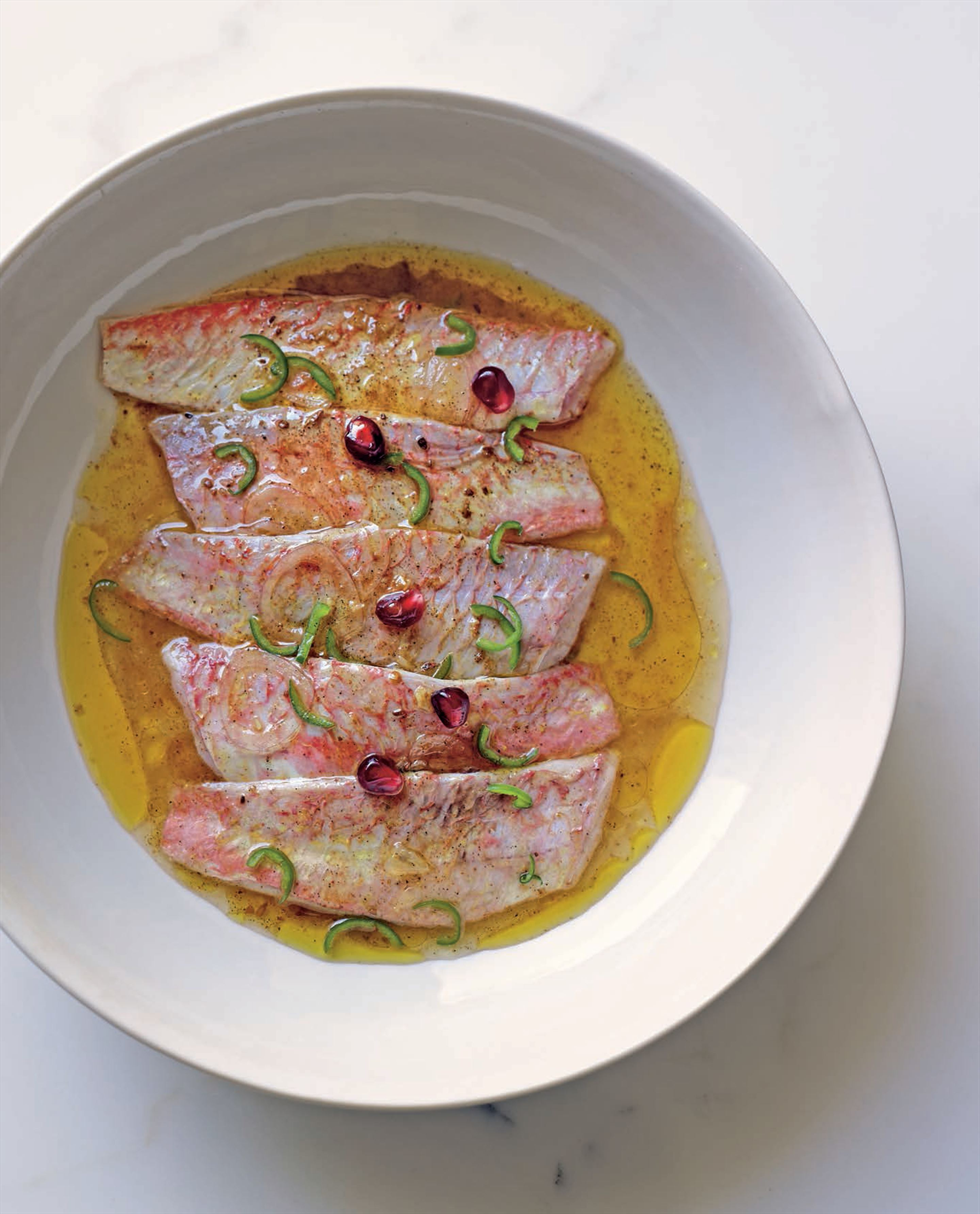 Ceviche of red mullet with ras al hanout