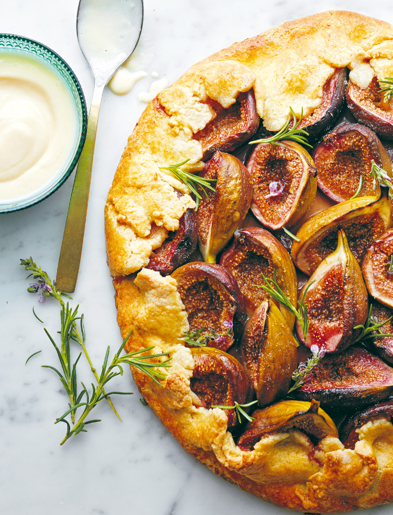 Fig crostata with rosemary custard