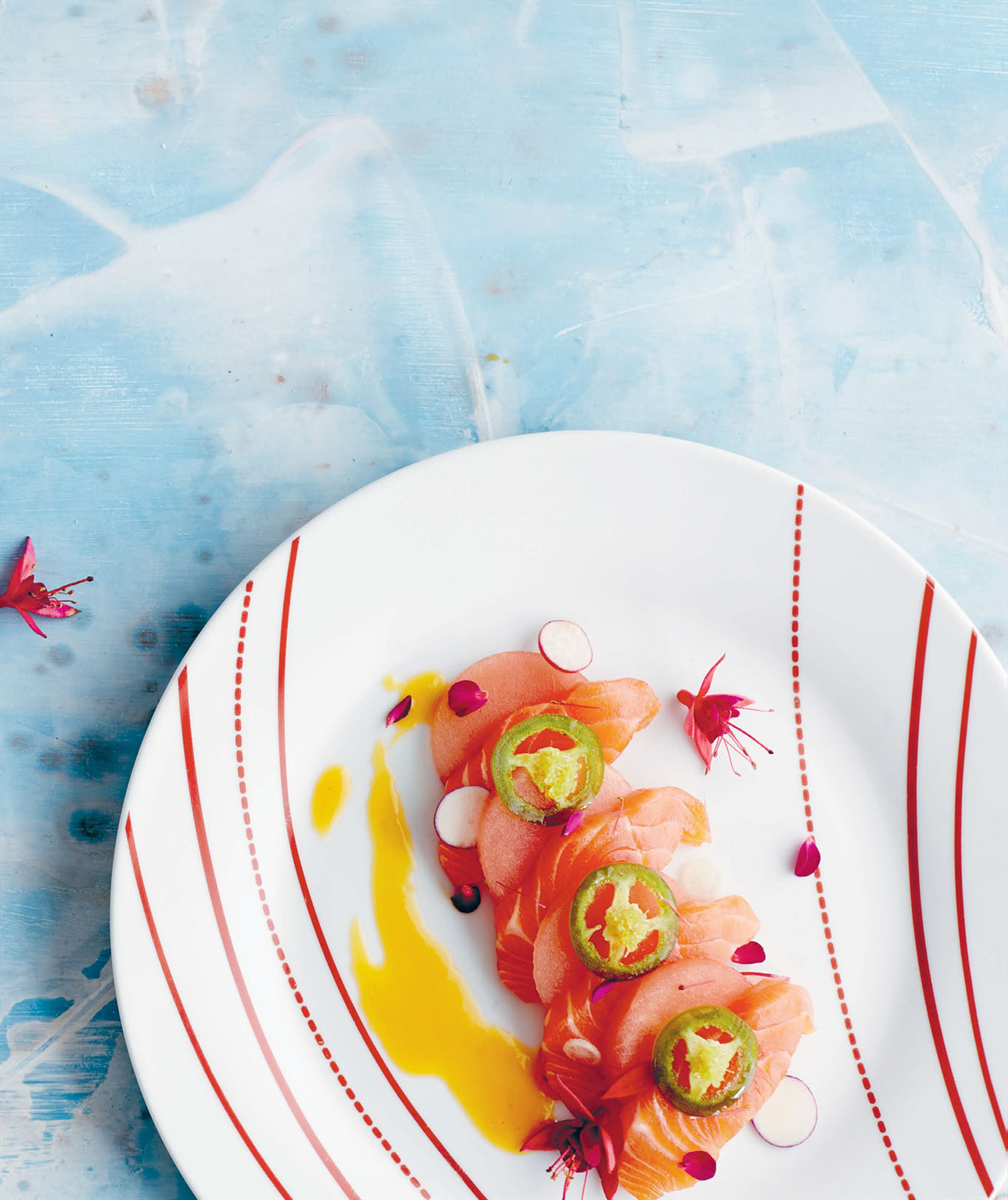 Ocean trout & watermelon cebiche with prickly pear dressing