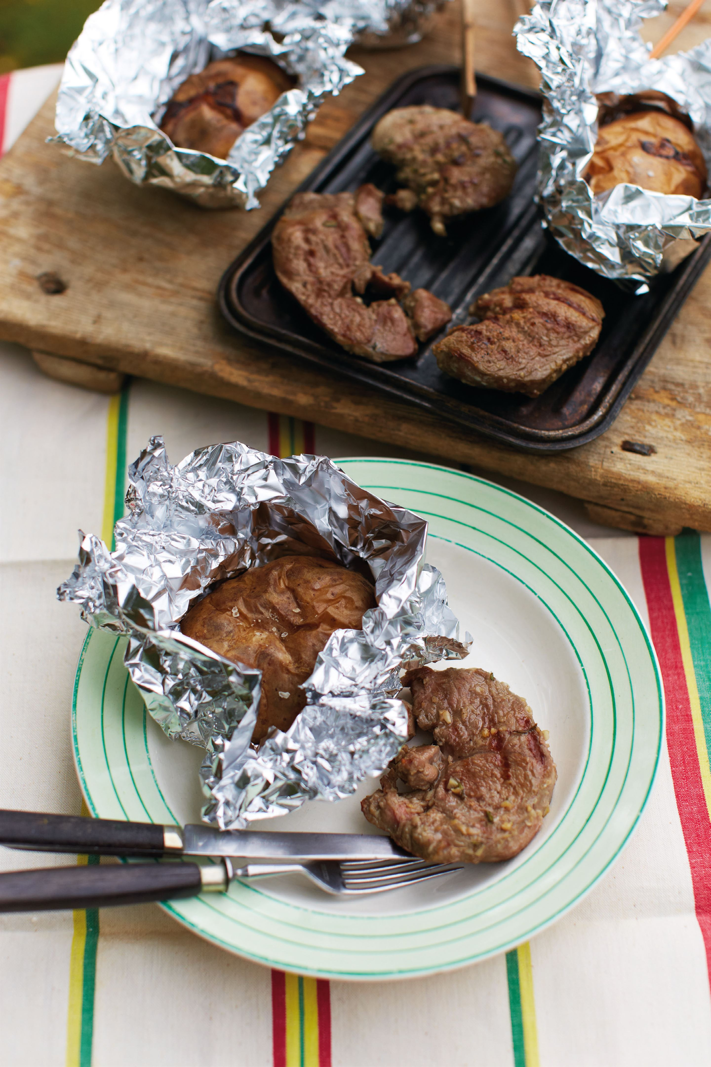 Salty and fragrant lamb steaks