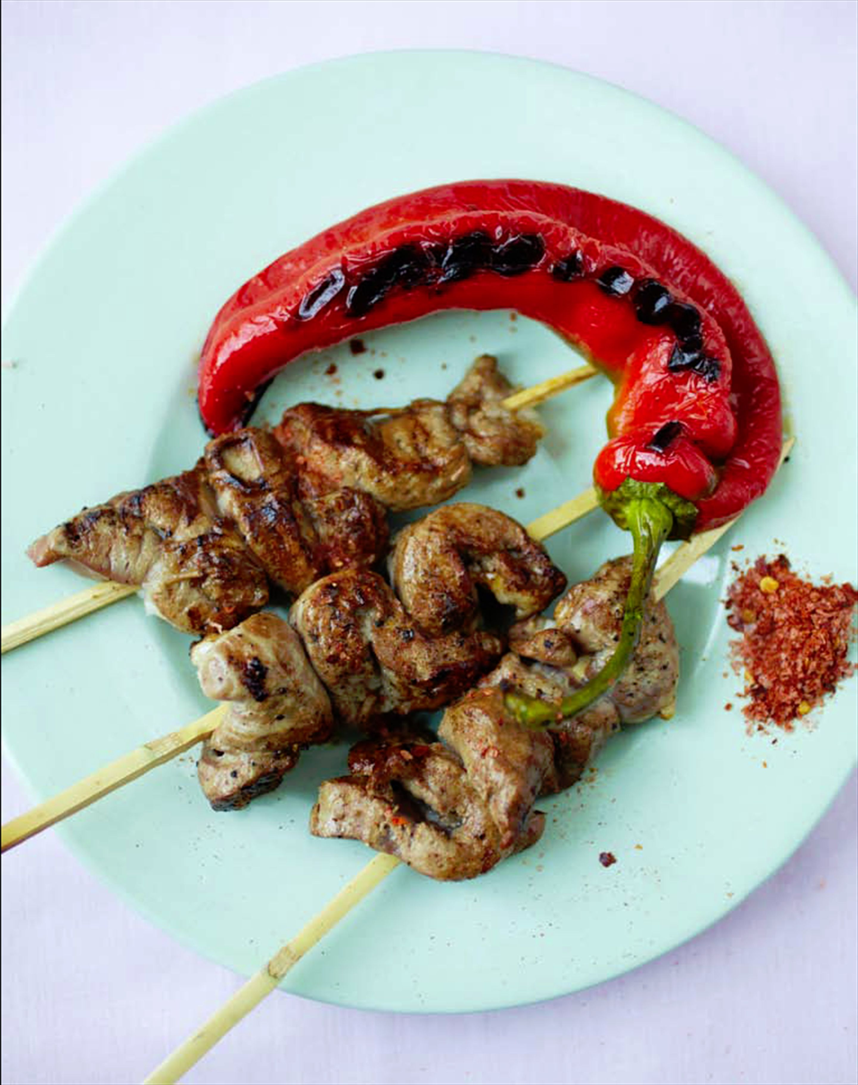Liver brochettes with chilli salt