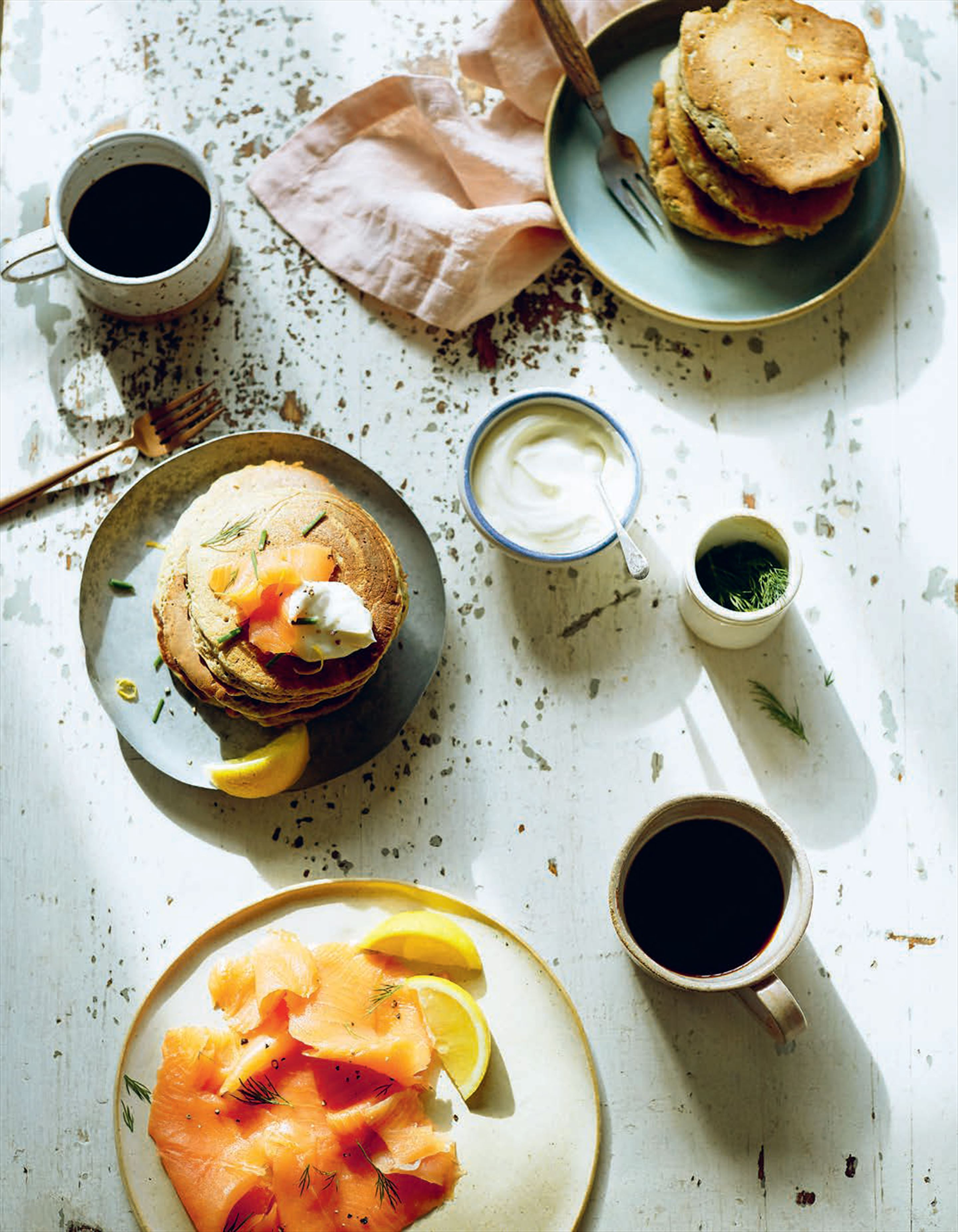 Buckwheat, chive & lemon pancakes with smoked salmon & crème fraîche