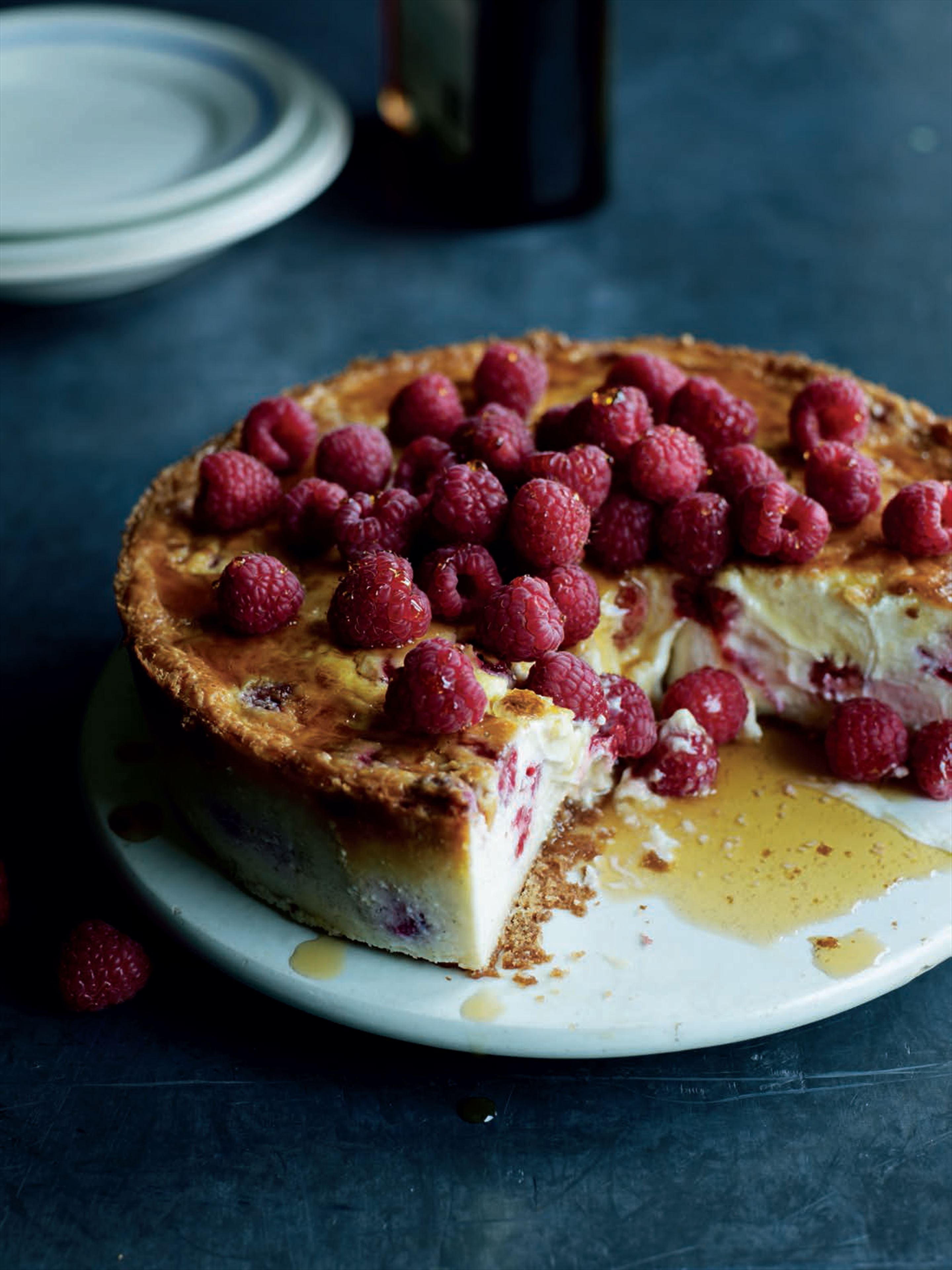 Baked New York raspberry cheesecake