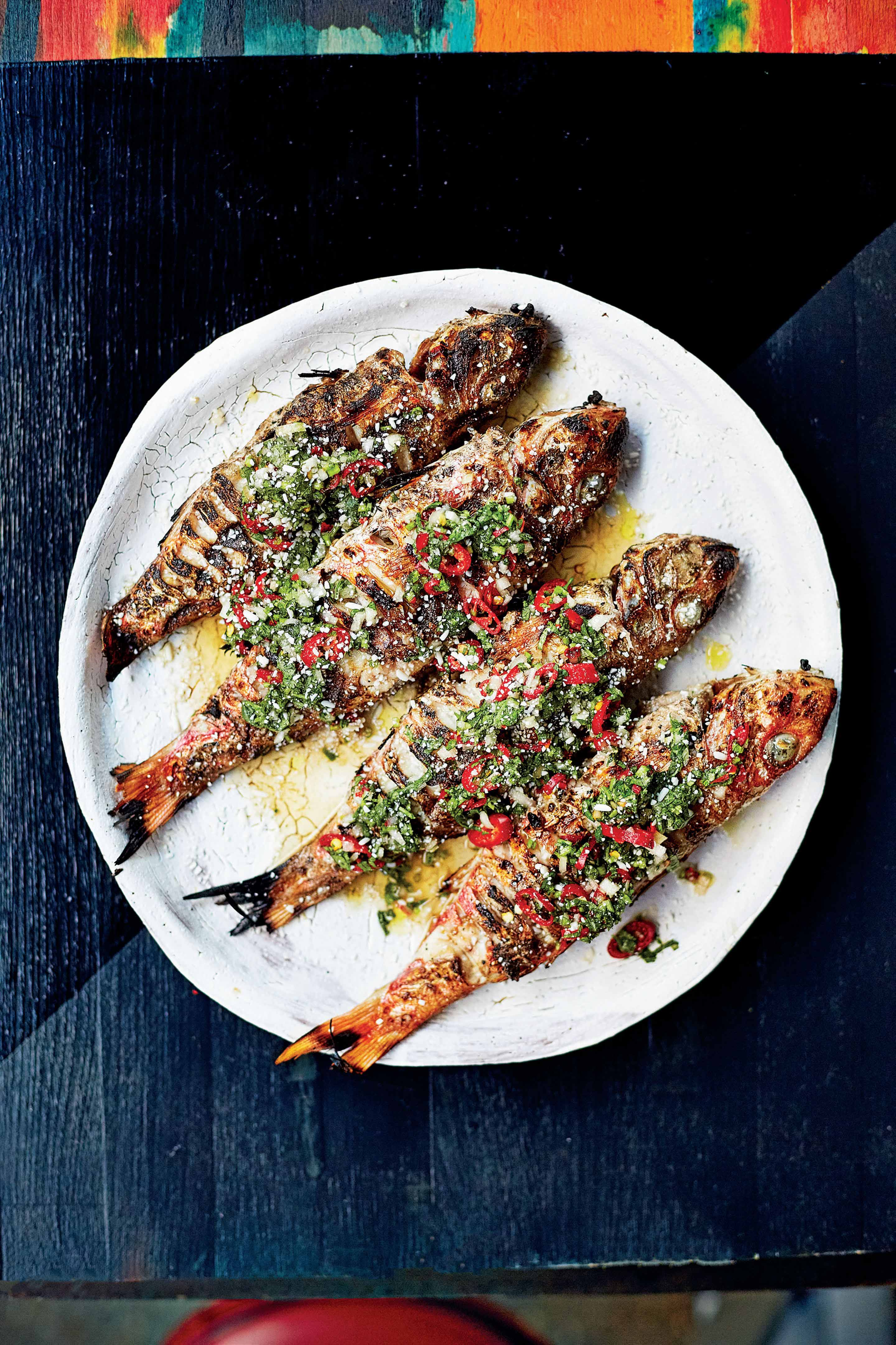 Grilled whole red mullet with Thai dipping sauce
