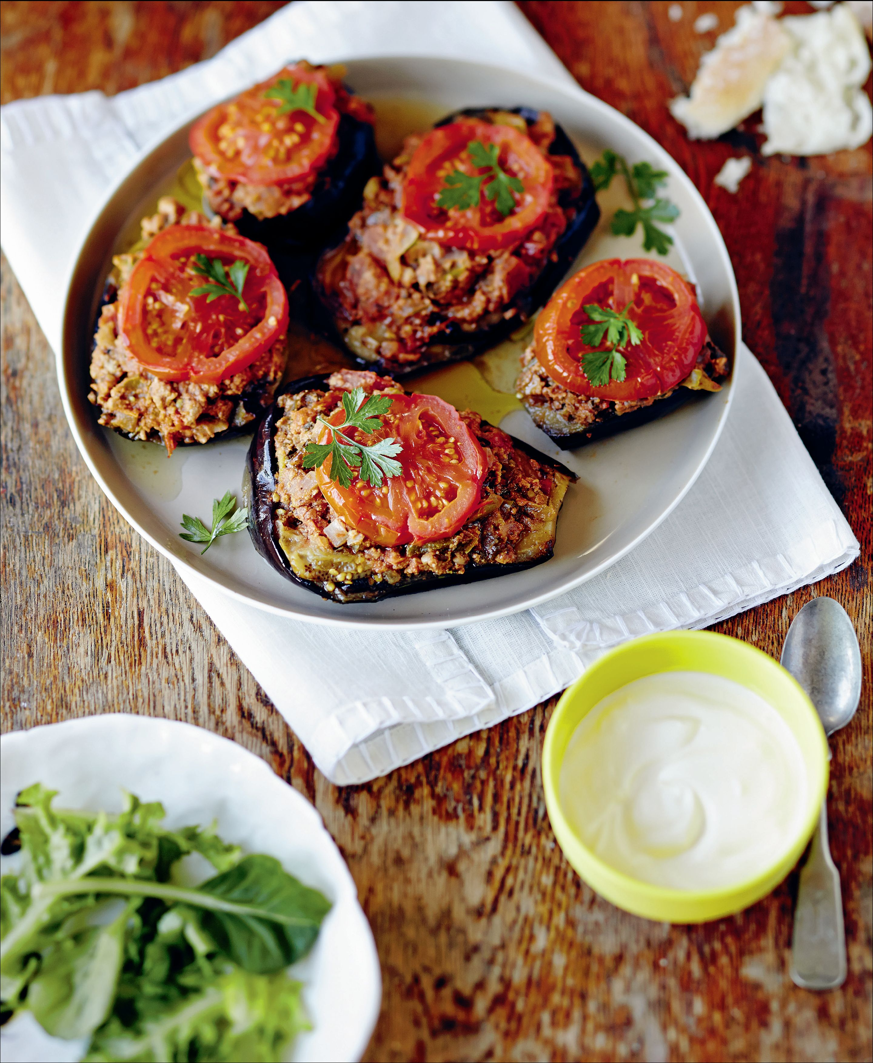 'Split belly' (stuffed eggplant with lamb or beef)