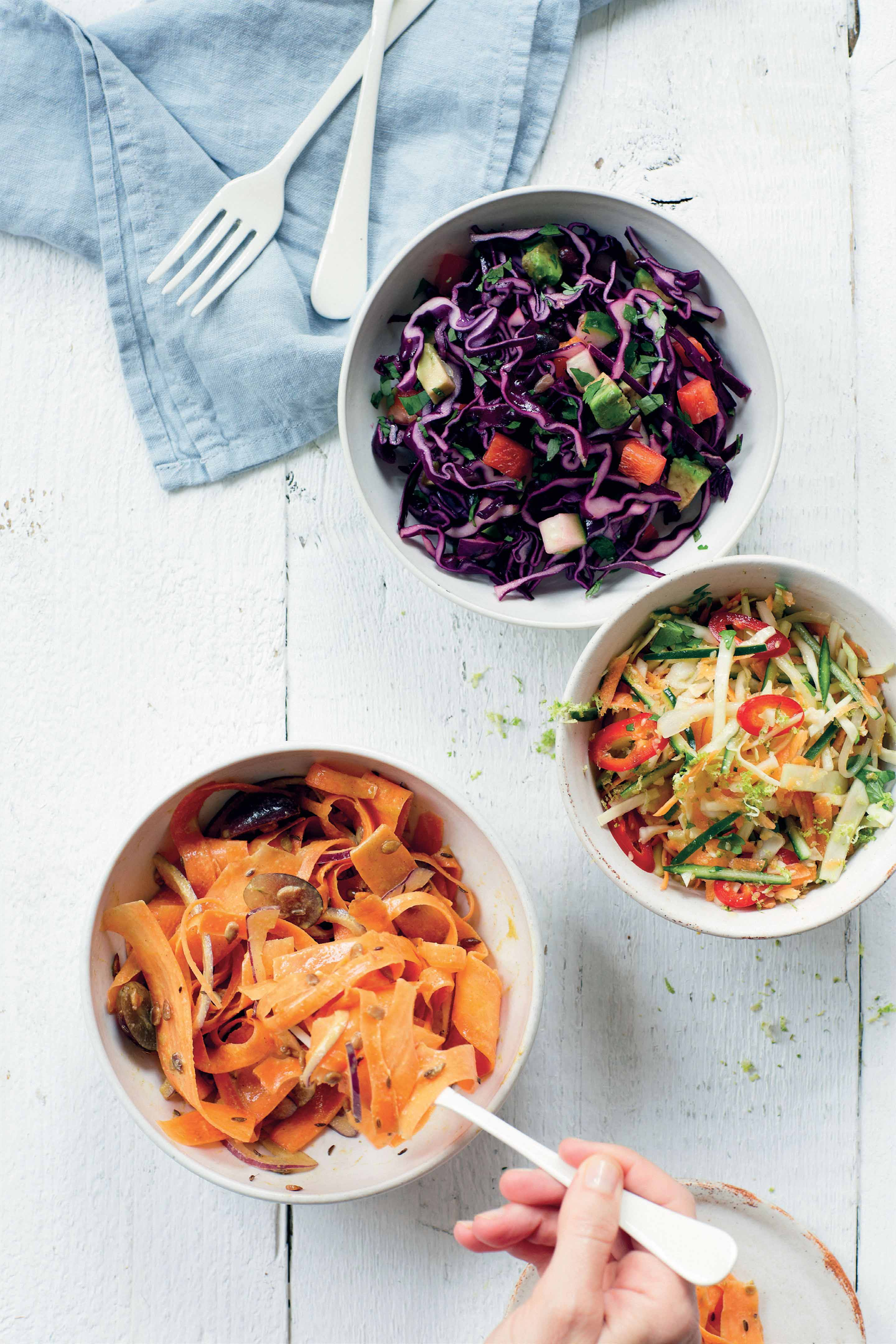 Carrot coleslaw salad with grapes